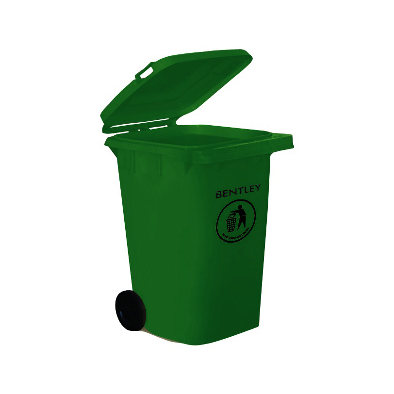 Wheelie Bin High Density Polyethylene with Rear Wheels 240 Litre Capacity 580x740x1070mm Green