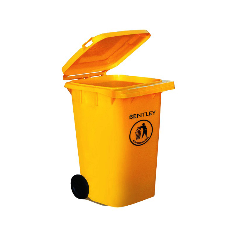 Wheelie Bin High Density Polyethylene with Rear Wheels 240 Litre Capacity 580x740x1070mm Yellow