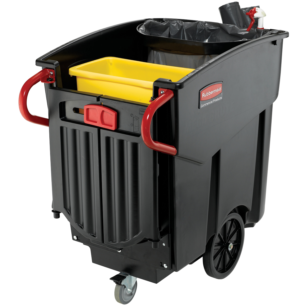 Trolleys Rubbermaid Mega Brute Waste Collection Cart 450 Litres W1330xD700xH1080mm Ref FG9W7100BLA