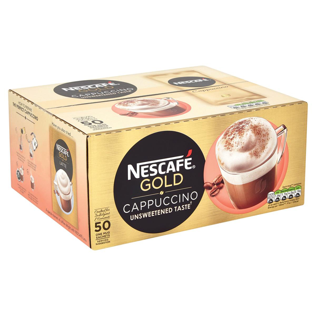 Coffee Nescafe Gold Cappuccino Instant Coffee Sachets One Cup Ref 12314883 Pack 50