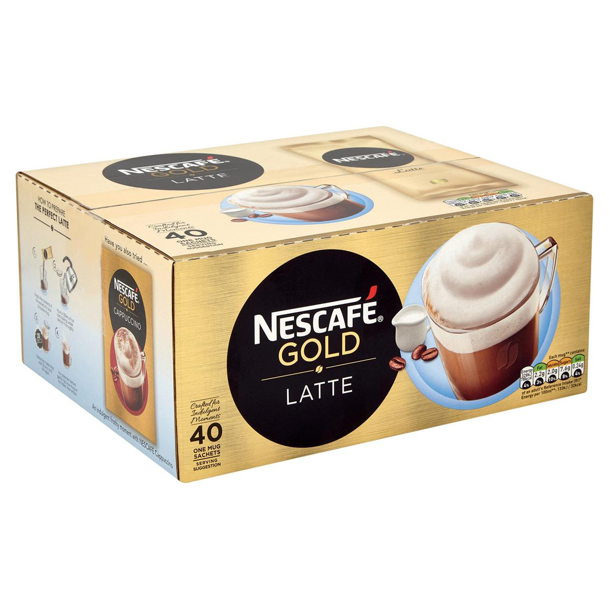 Coffee Nescafe Gold Latte Instant Coffee Sachets One Cup Ref 12314884 Pack 40