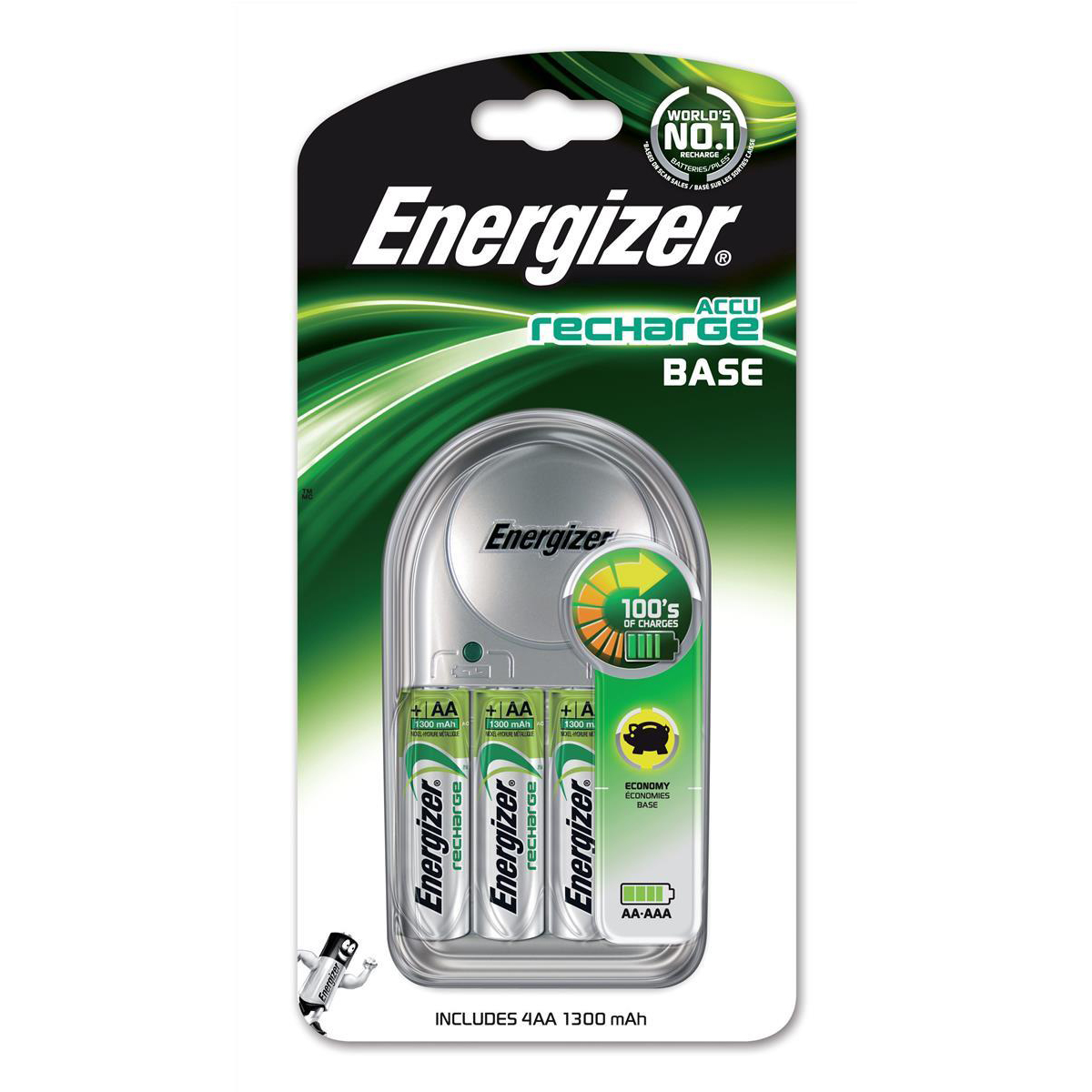 Energizer Value Battery Charger CHVC3 for AA AAA Includes 4xAA 1300mAh Batteries Ref 633157