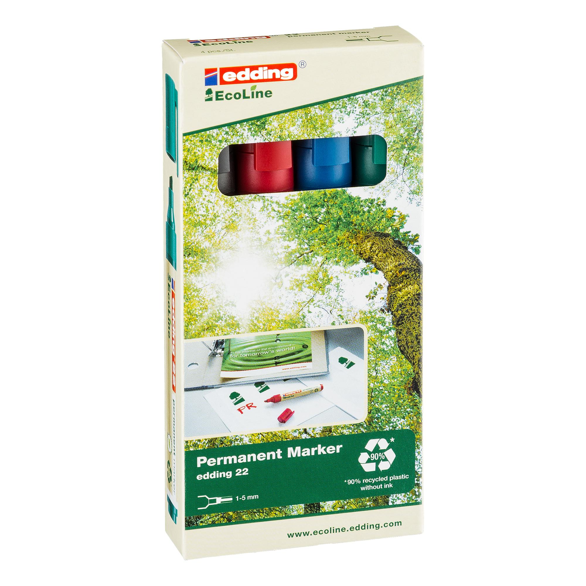 Permanent Markers Edding e-22 EcoLine Permanent Marker Chisel Tip Assorted Ref 4-22-4 Pack 4