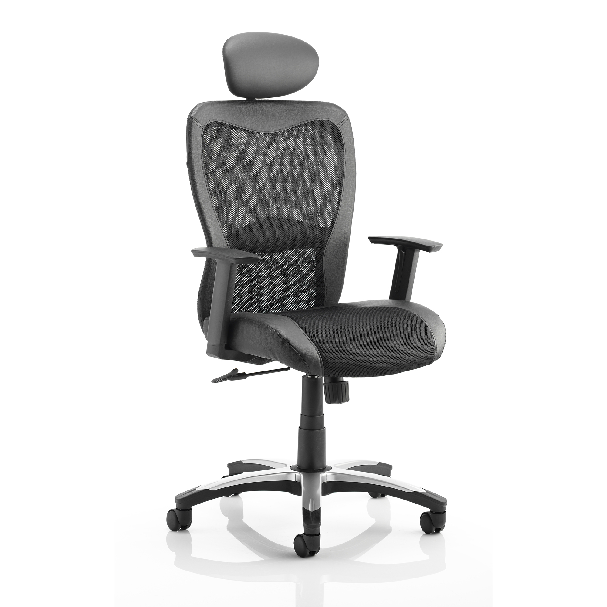 Executive seating Trexus Victor II Executive Chair With Arms With Headrest Leather Black Mesh Black Ref KC0160
