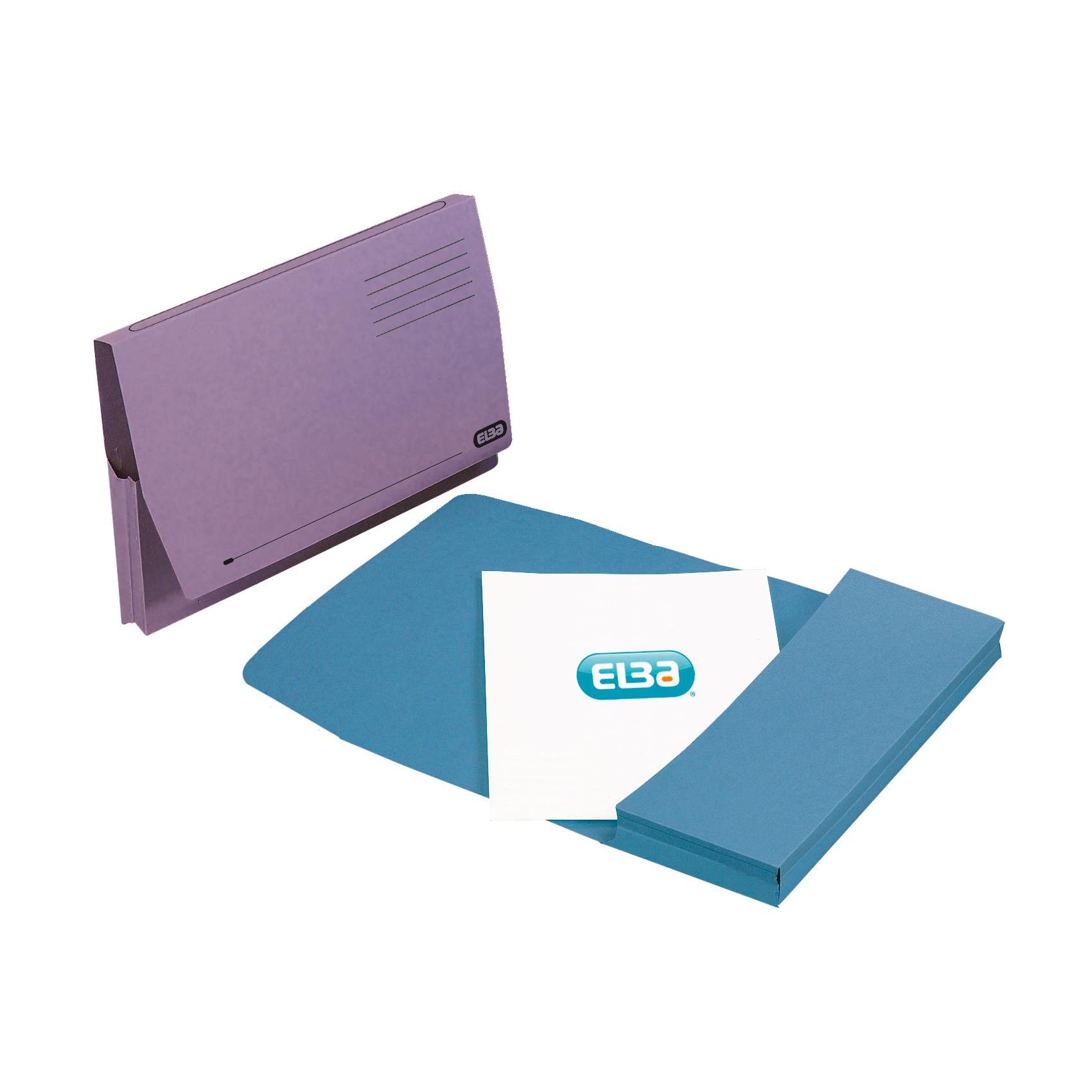 Elba Document Wallet Full Flap 285gsm Capacity 32mm Foolscap Blue Ref 100090131 Pack 50