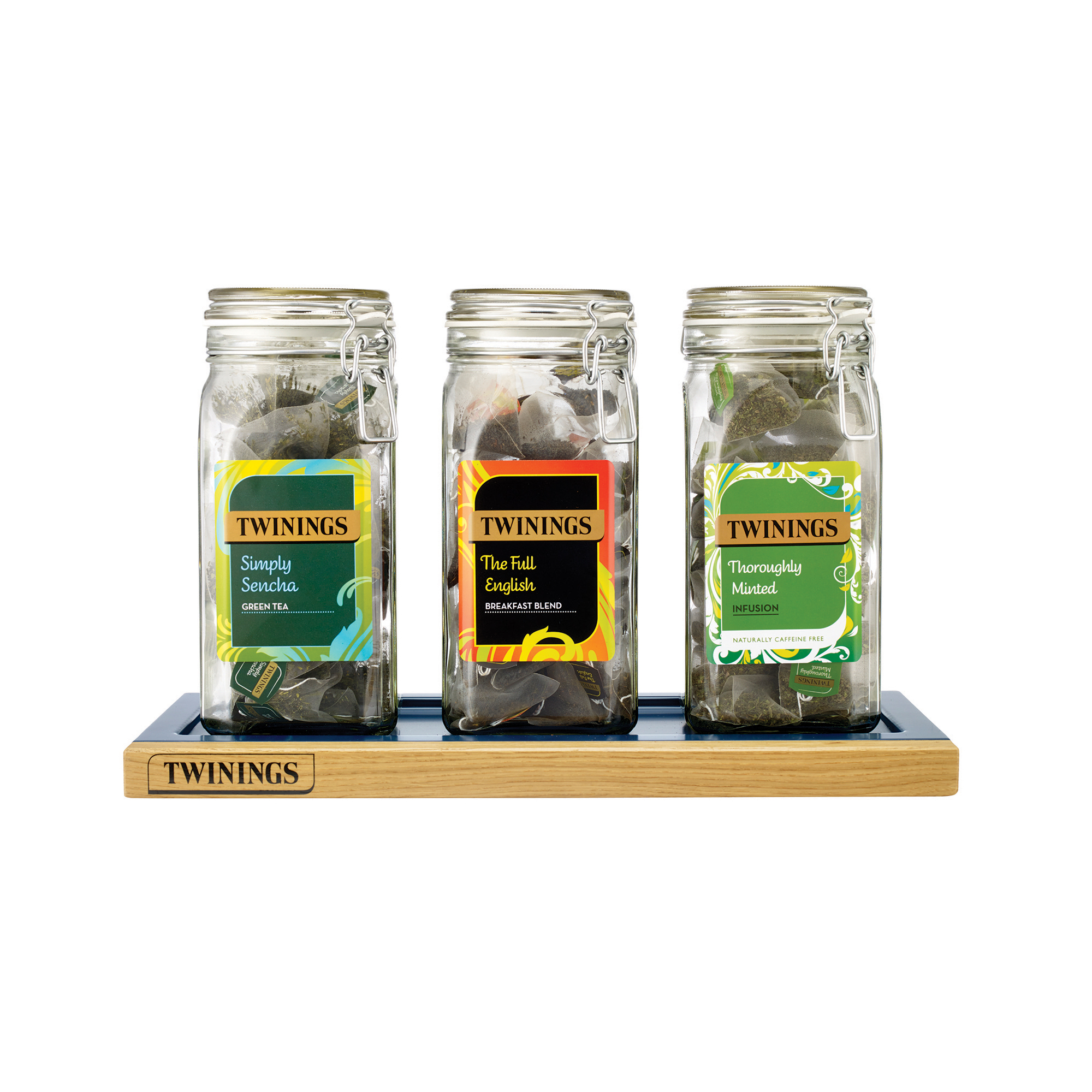 Tea / Coffee / Sugar Storage Twinings Kilner Jars Set of 3 and Tray