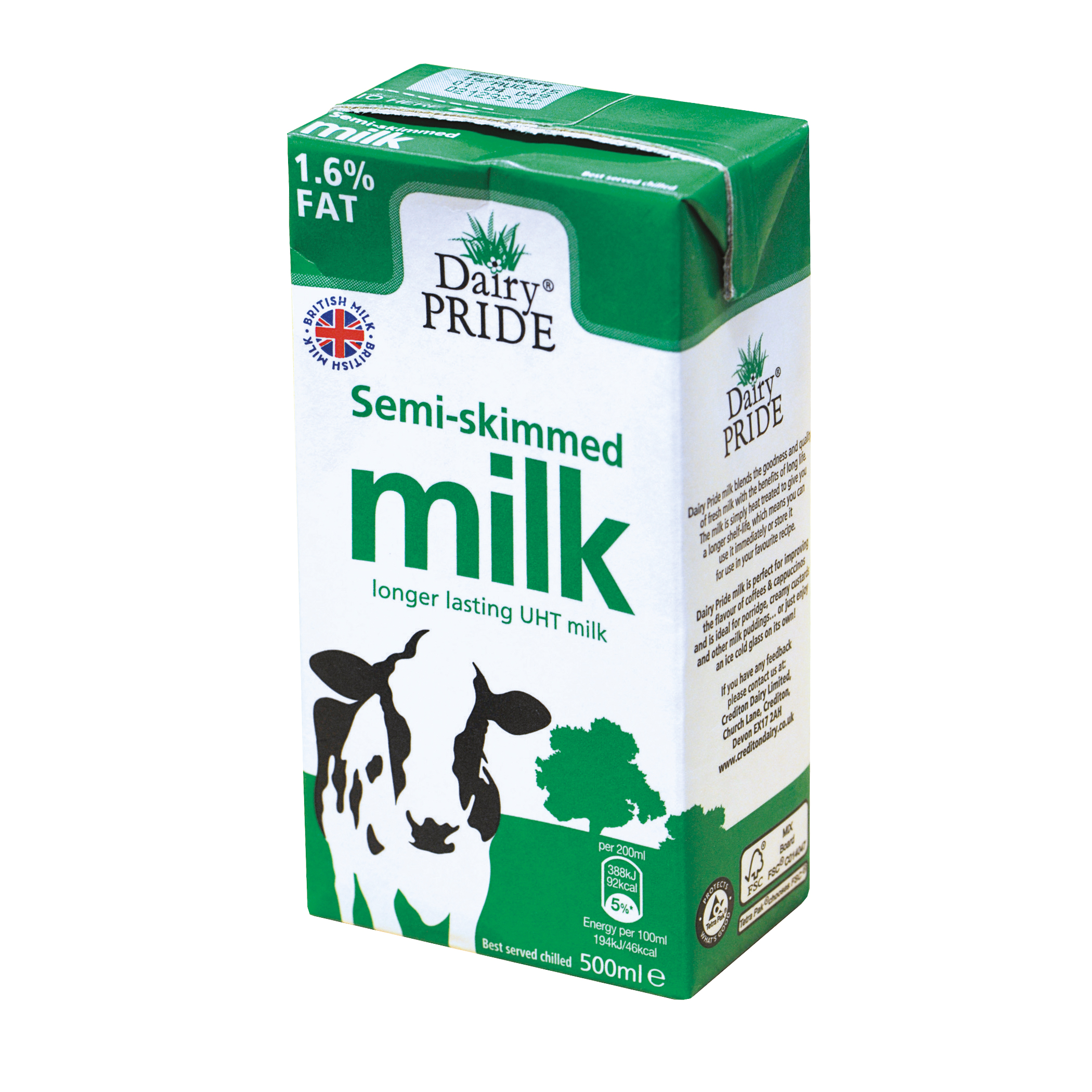 Dairy Pride Semi Skimmed Milk UHT 500ml Ref 0402058 [Pack 12]
