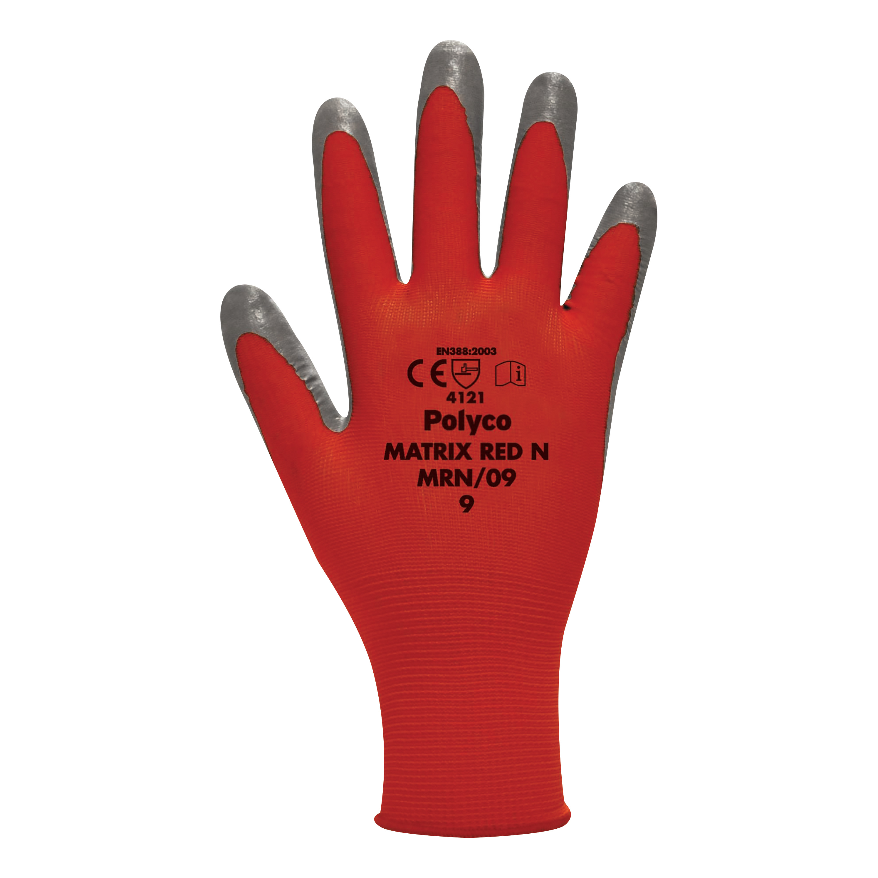 Protective gloves Polyco Gloves Nitrile Foam Coated 15 Gauge Size 9 Red/Black Pair Ref MRN/09