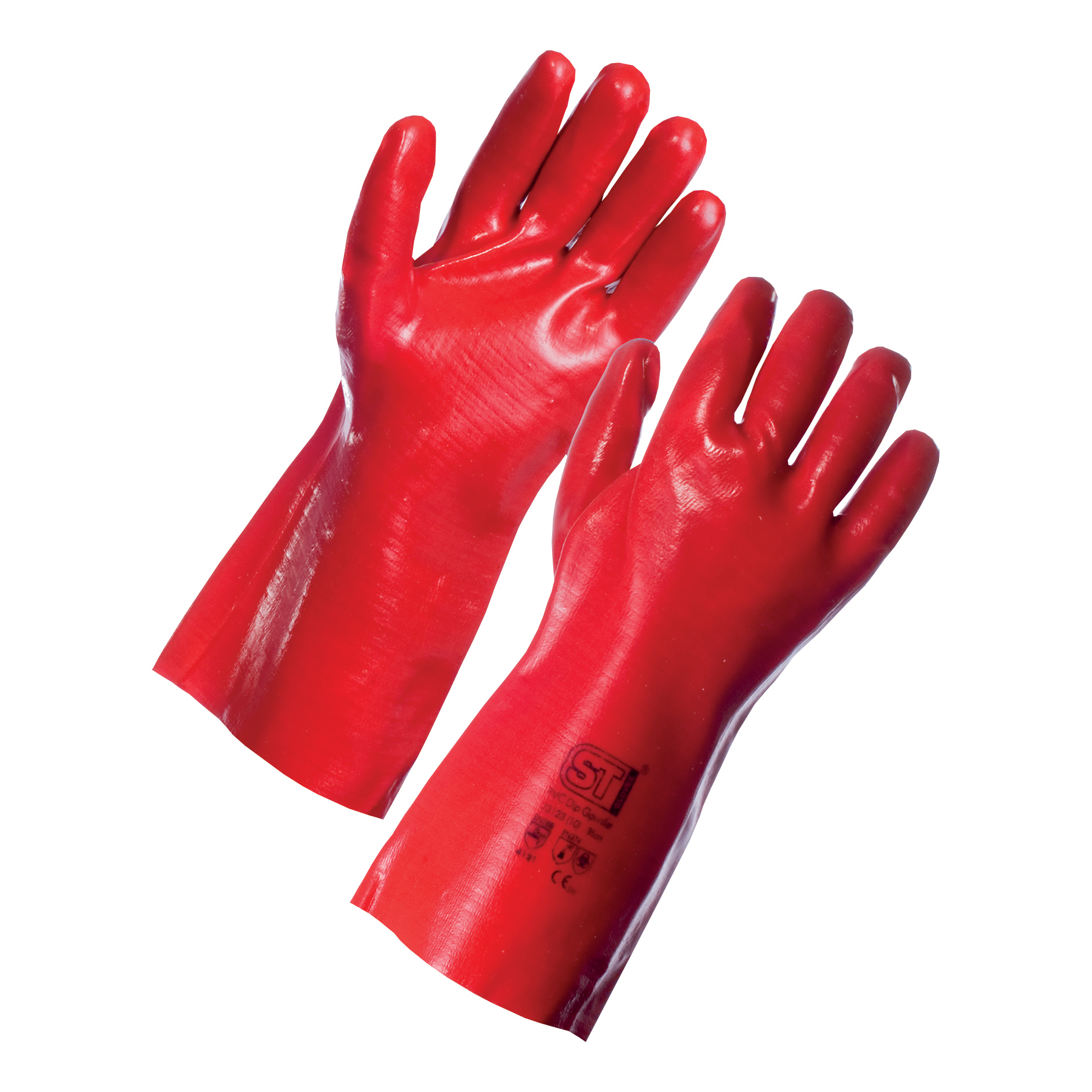 Knitted Wrist Gloves Cotton & PVC Large Red 12 Pairs