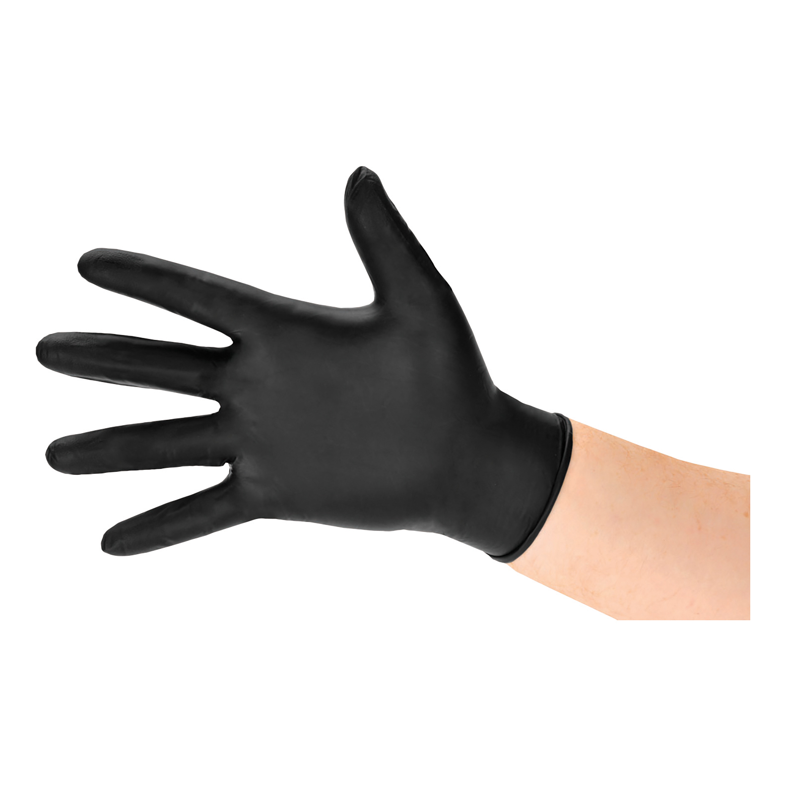 Nitrile Gloves Abrasion-resistance Rolled-cuff Medium Black Pack 100
