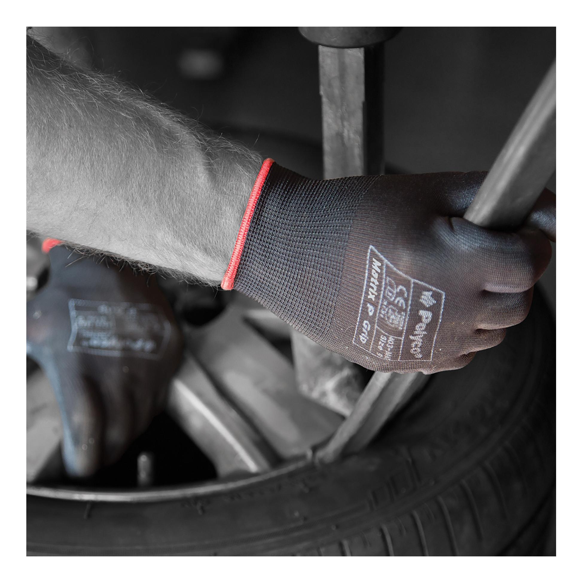 Polyco Matrix P Grip Gloves Polyurethane Tight-fit Size 9 Black Ref 403-MAT