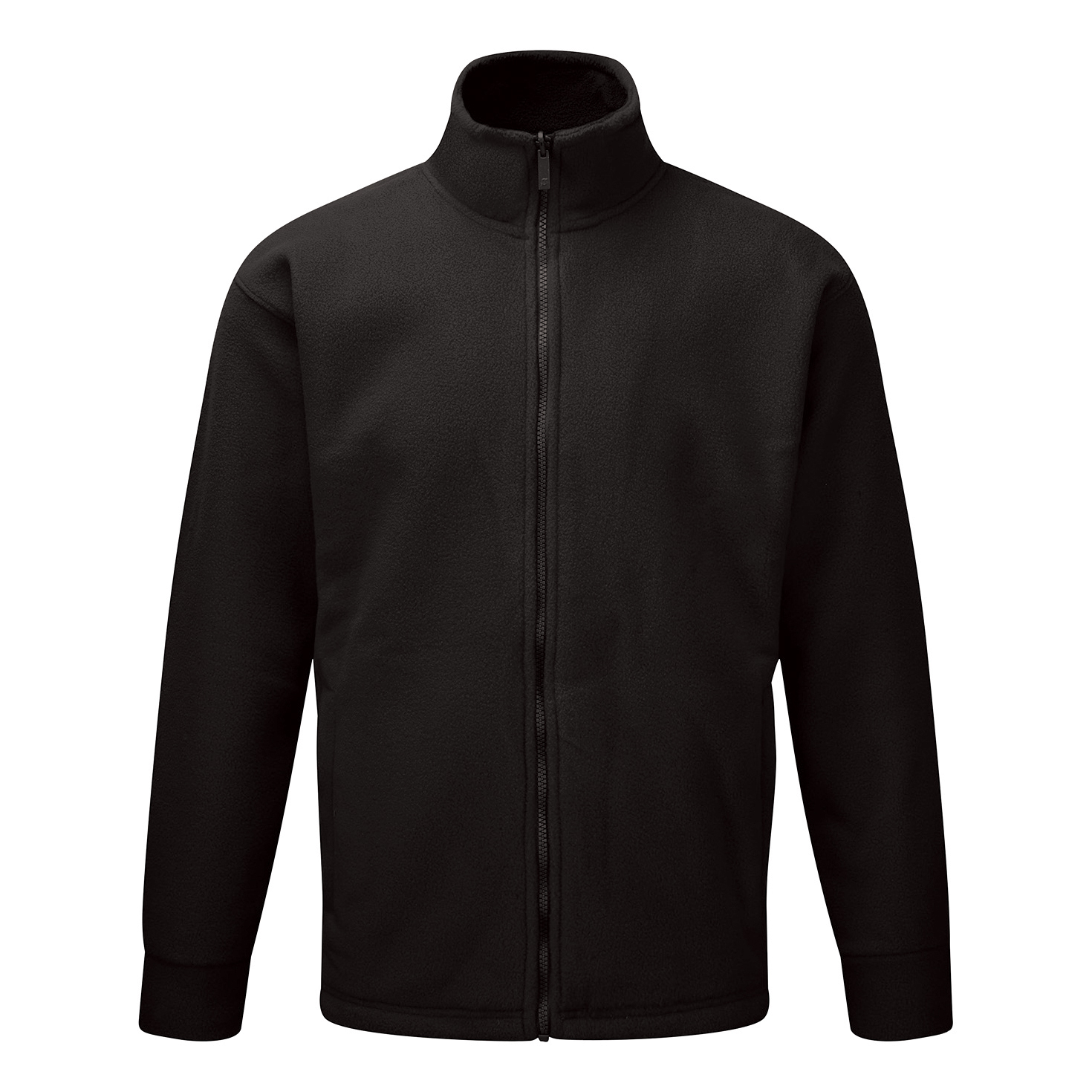 Basic Fleece Jacket Elasticated Cuffs and Full Zip Front 3XLarge Black 1-3 Days Lead Time