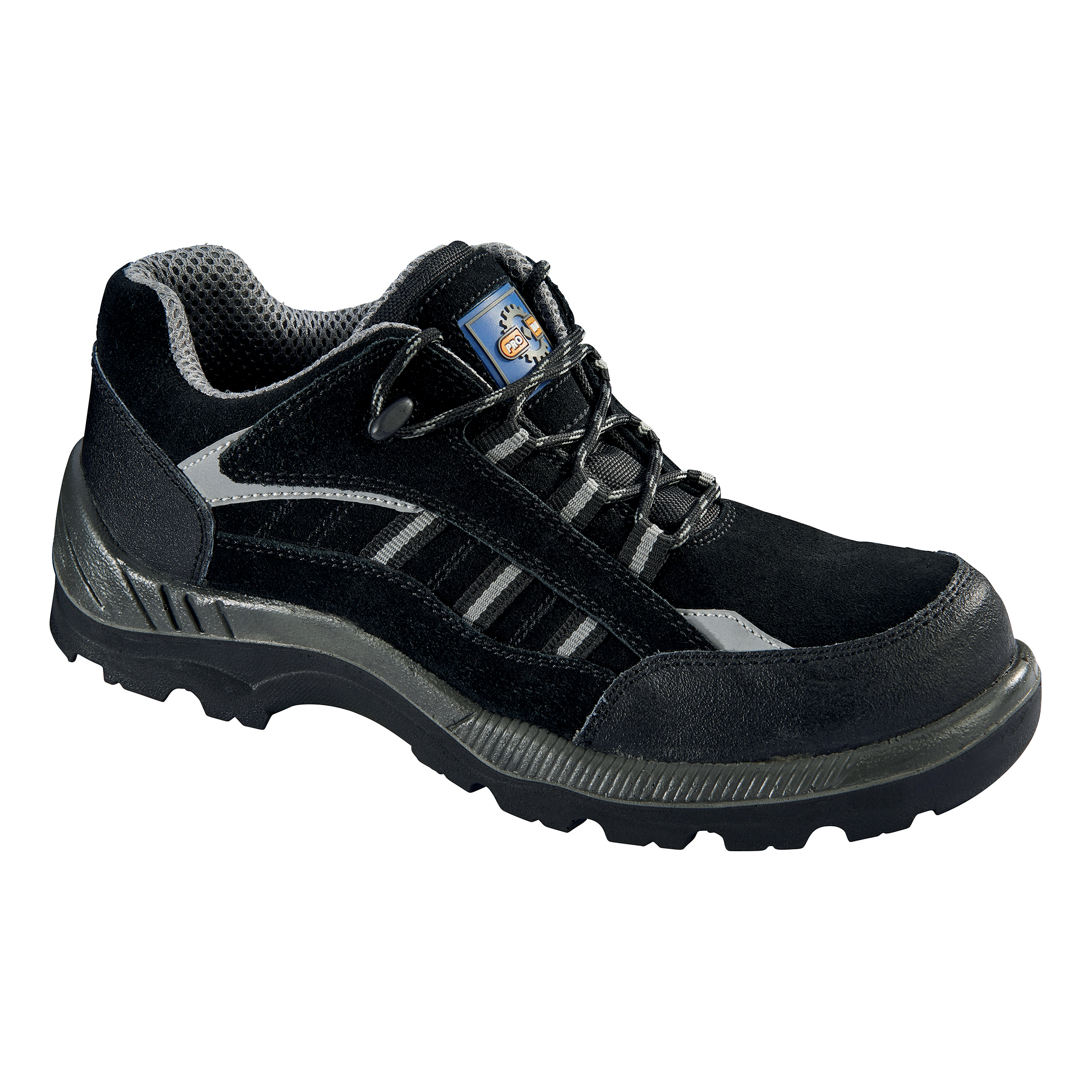 Safety shoes Rockfall ProMan Trainer Suede Fibreglass Toecap Black Size 10 Ref PM4040 10