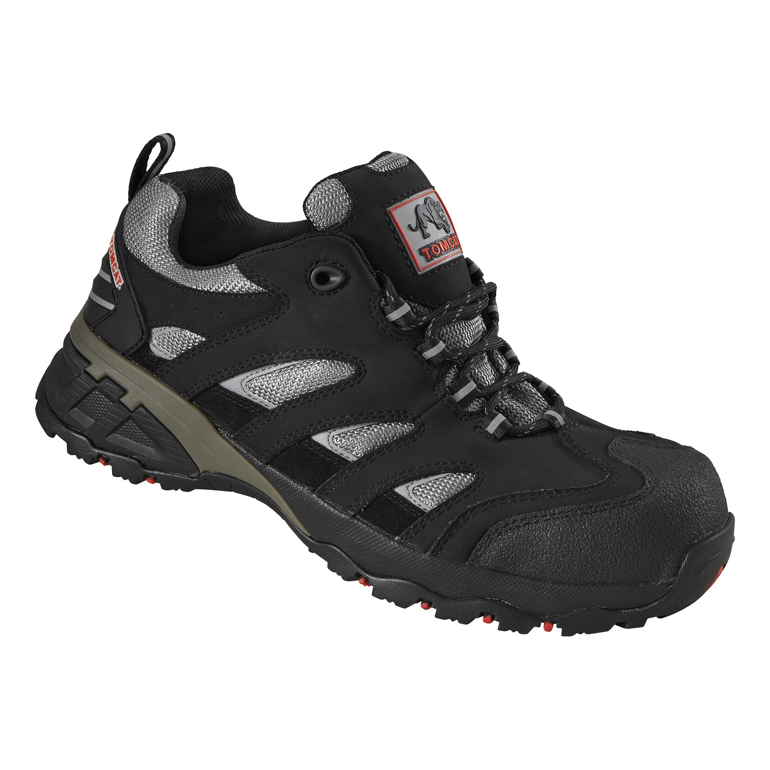 Rockfall Maine Trainer F/Glass Toecap & Flexi-Midsole Size 7 Black/Silver Ref TC130-7 *5-7 Day Leadtime*