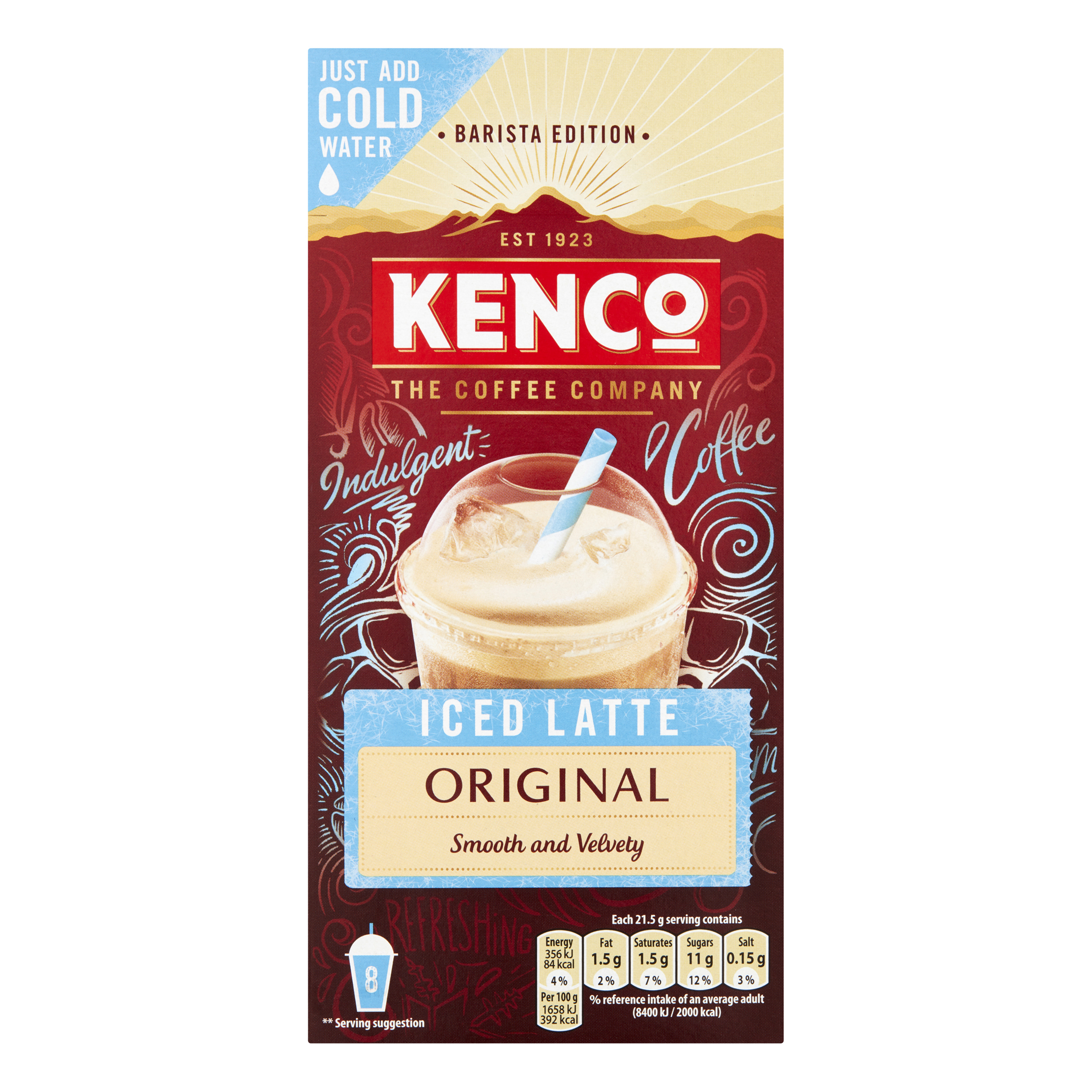Water Kenco Iced Latte Original Instant Coffee Ref 4019440 Pack 8 x 5 Boxes