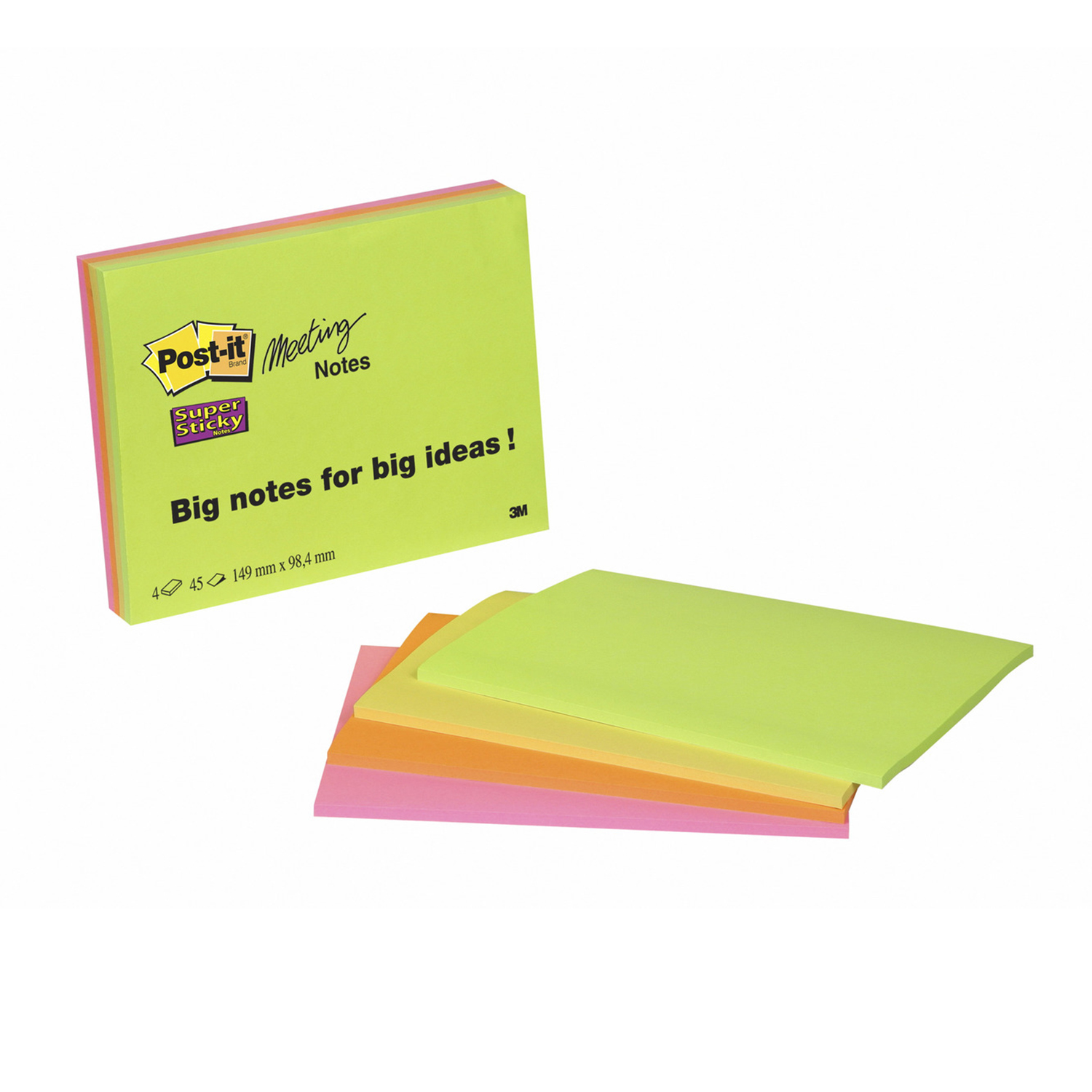 Post-it Super Sticky Meeting Notes Pads of 45 Sheets 152x101mm Bright Colours Ref 6445SSP [Pack 4]