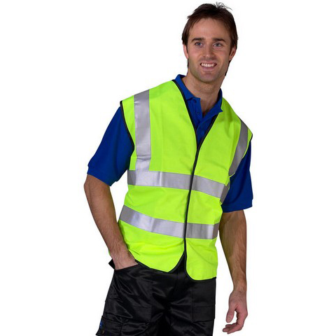 B-Seen High Visibility Waistcoat Full App 5XL Yellow/Black Piping Ref WCENG5XL *Up to 3 Day Leadtime*