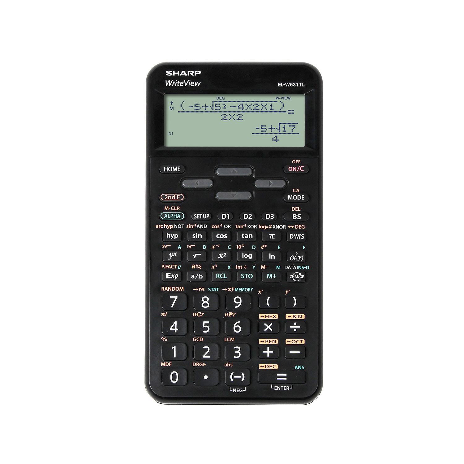 Scientific Calculator Sharp WriteView Scientific Calculator Dot Matrix Display 420 Functions 80x15x158mm Blk Ref SH-ELW531TLBBK