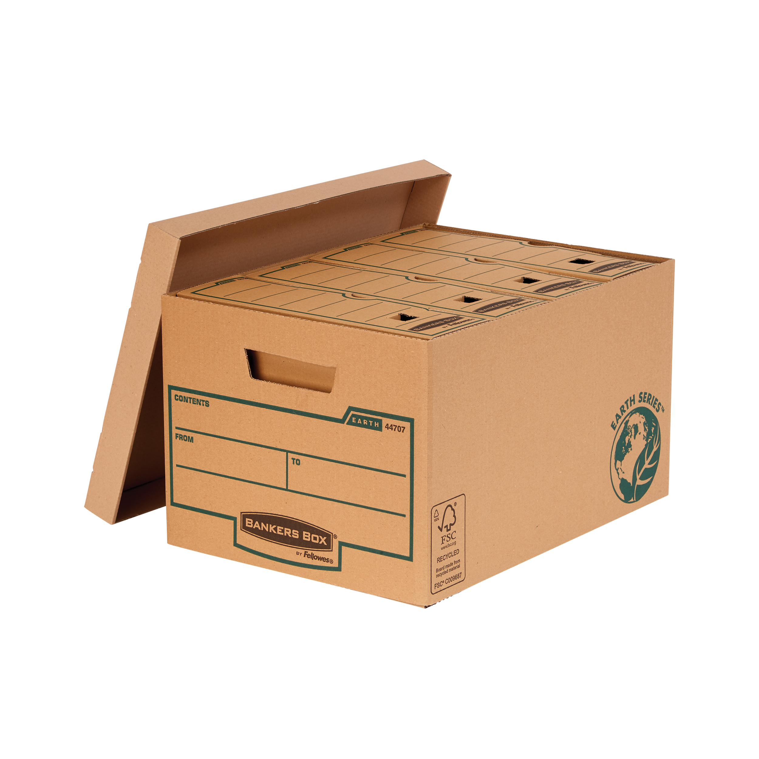 Storage Boxes Bankers Box by Fellowes FSC Earth Series Storage Box Large Brown Ref 4470701 [Pack 10]