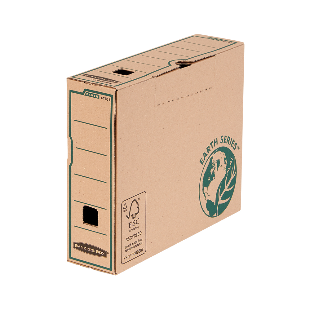 Bankers Box by Fellowes Earth Transfer File Recycled FSC Tab Lock Lid A4 Ref 4470101 Pack 20
