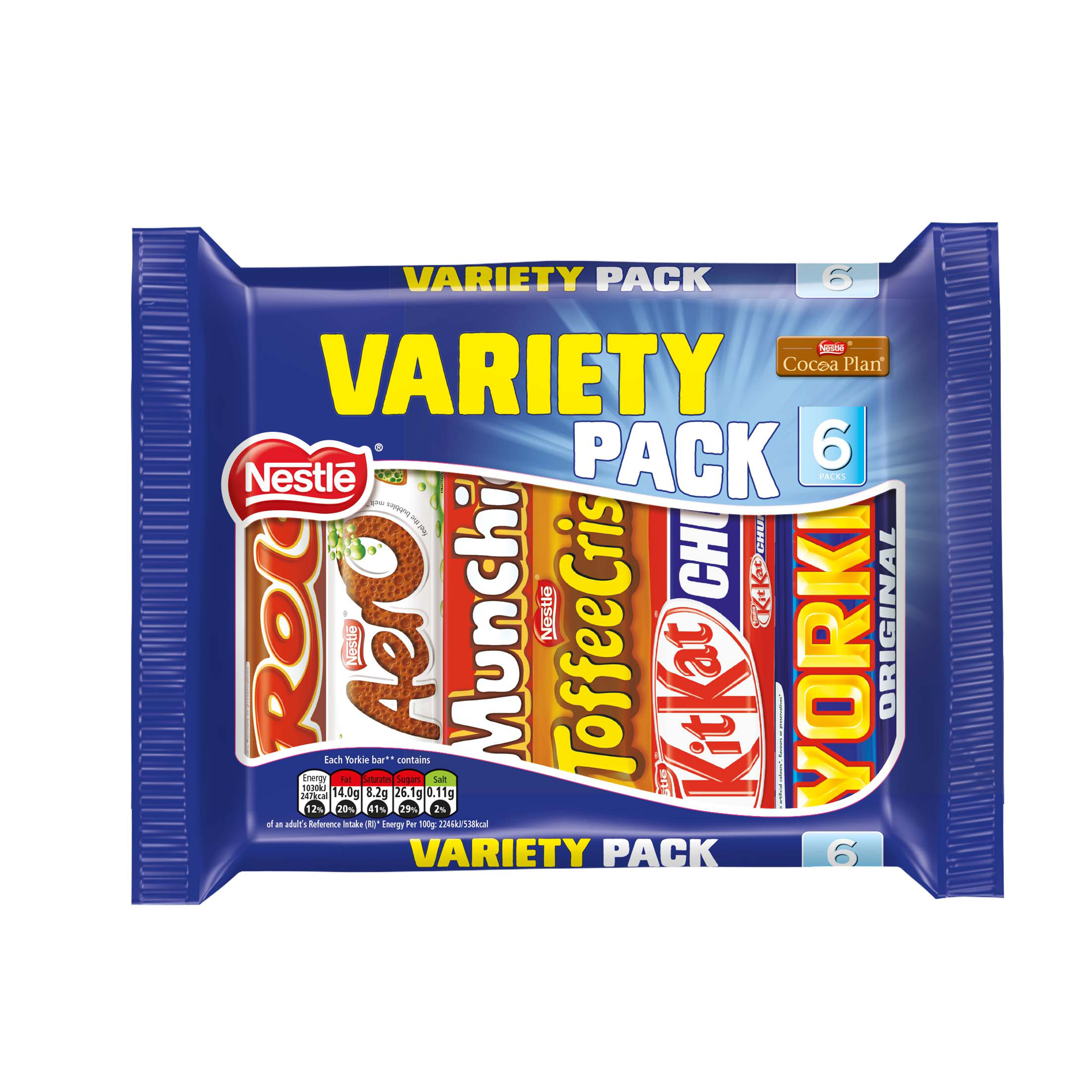 Chocolate or chocolate substitute candy Nestle Standard Size Variety Pack Assorted 6 Varieties 264g Ref 12297992