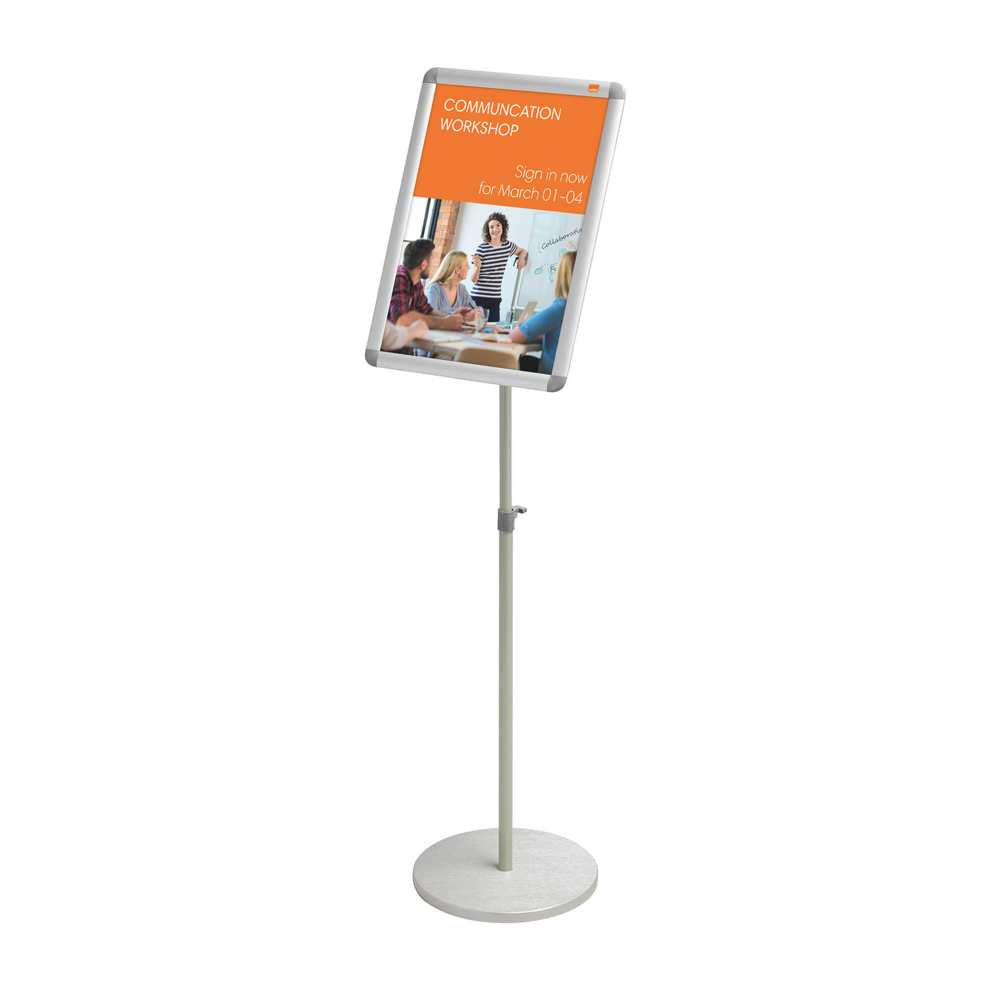 Certificate / Photo Frames Nobo Snap Frame Display Stand for A3 Documents Adjustable Height 950-1470mm Silver Ref 1902384