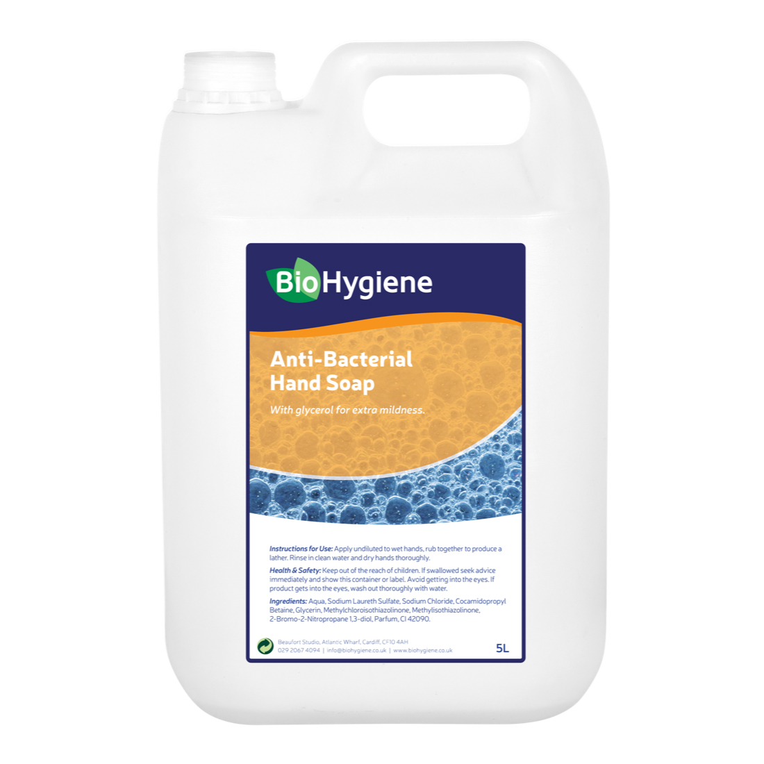 Hand cleaner BioHygiene Antibac Hand Soap Unfragranced 5Litre Bottle Ref BH099