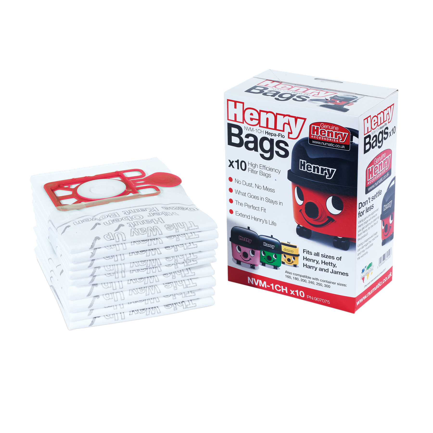 Numatic Replacement Vacuum HepaFlo Dust Bags for 160 & 180 & 200 & 240 & 250 & 300 Ref 604015 Pack 10