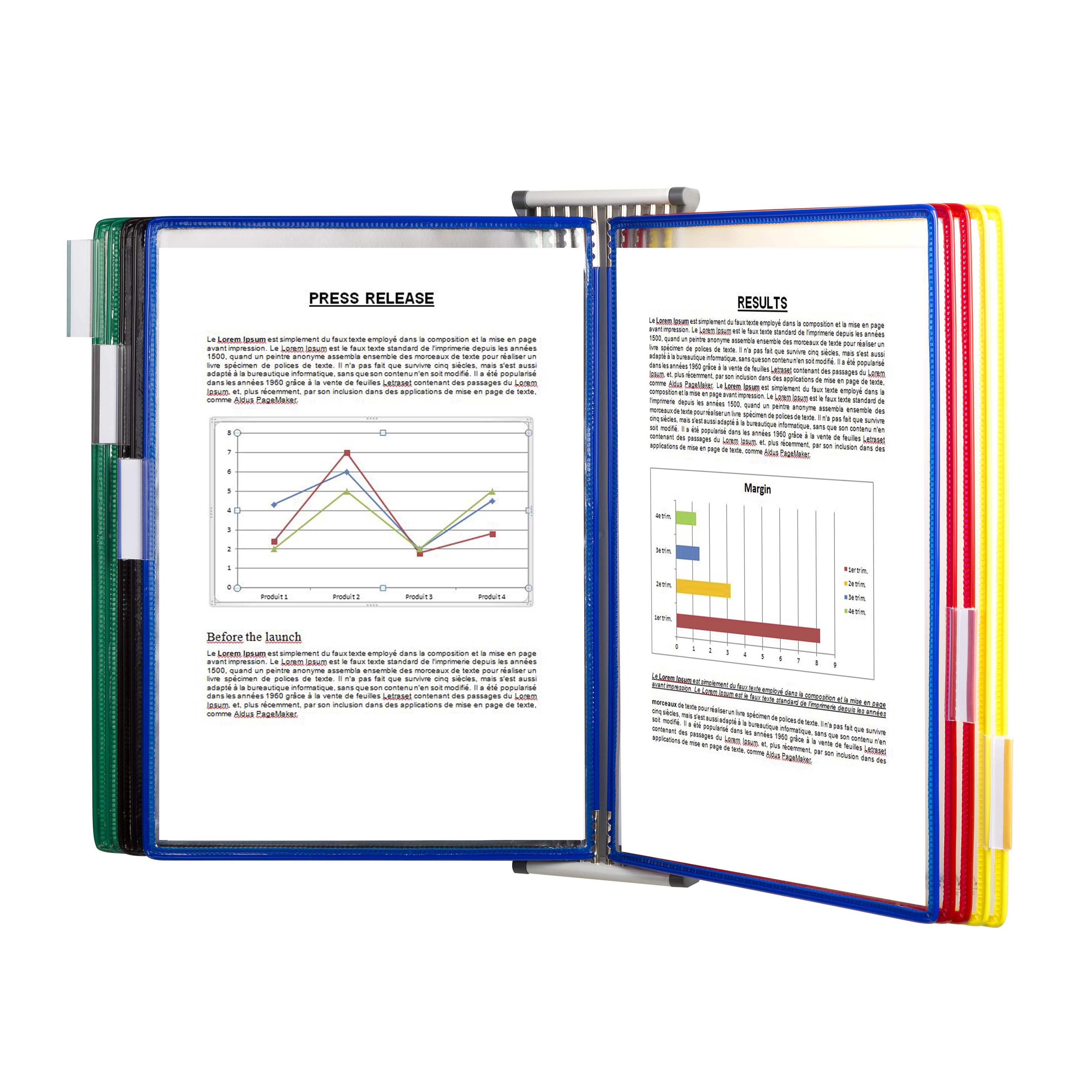 Display systems or its accessories Tarifold A4 Wall Display System with 10 Assorted Pockets