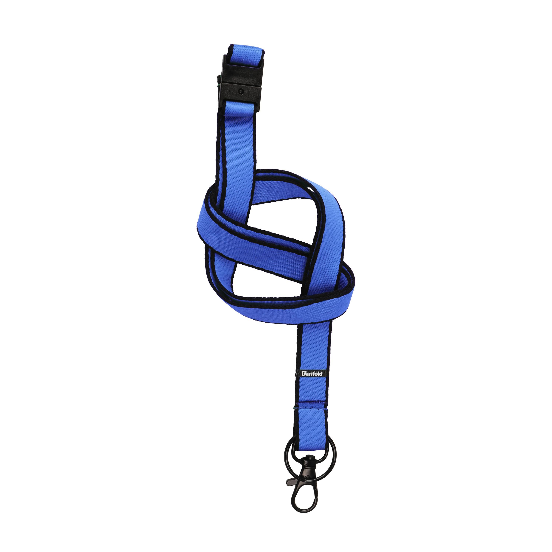Badge Holders Tarifold Flat Textile Lanyards Blue Pack 10