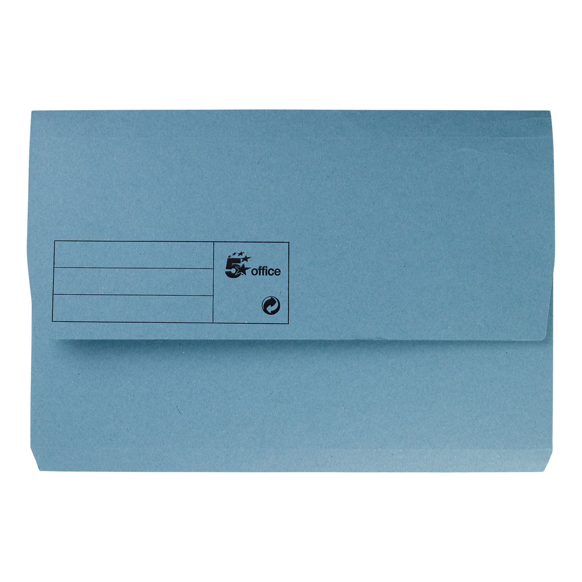 5 Star Office Document Wallet Half Flap 285gsm Recycled Capacity 32mm Foolscap Blue Pack 50