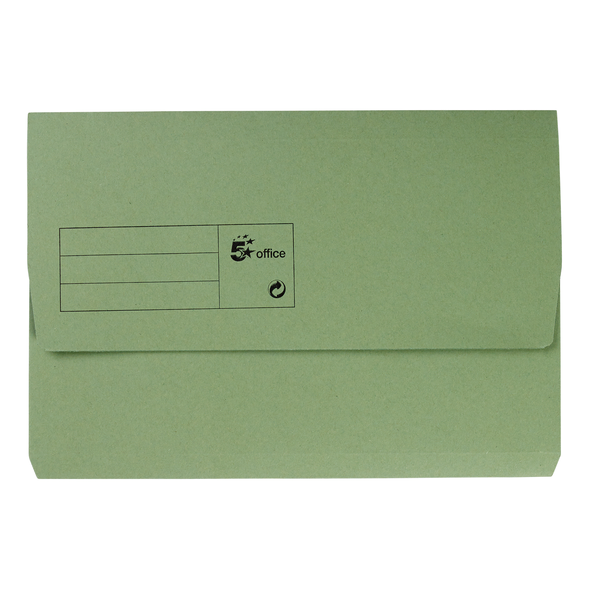 5 Star Office Document Wallet Half Flap 285gsm Recycled Capacity 32mm Foolscap Green Pack 50