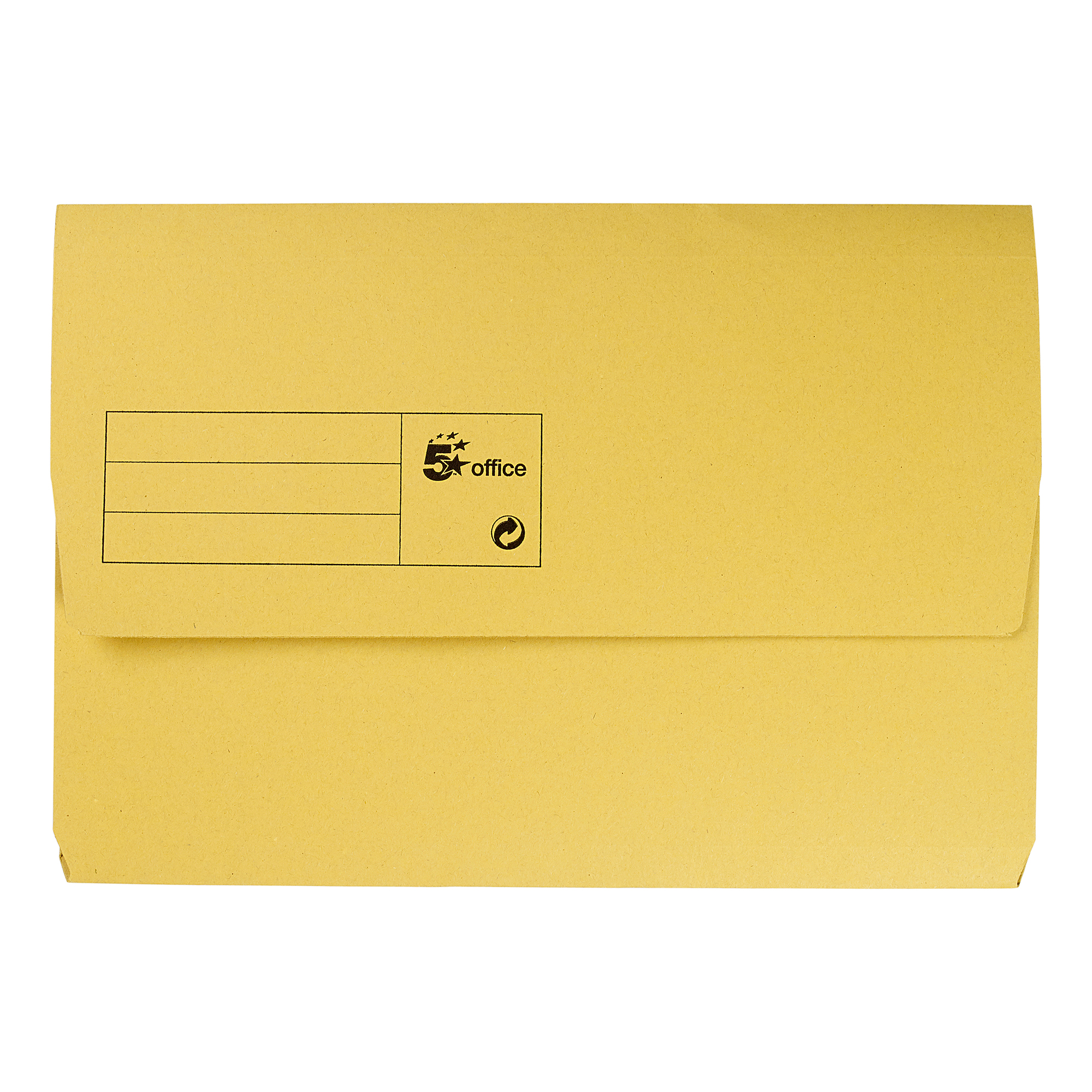 Document Wallets 5 Star Office Document Wallet Half Flap 285gsm Recycled Capacity 32mm Foolscap Yellow Pack 50