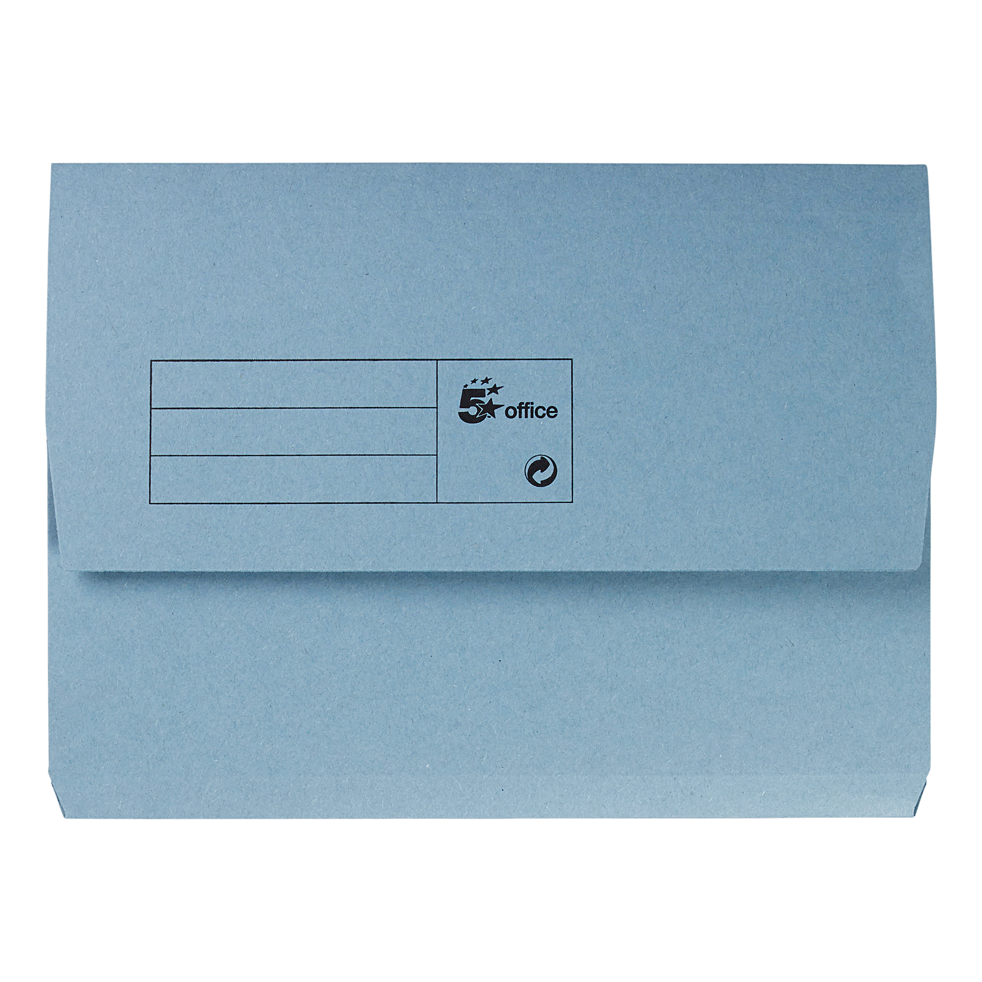 5 Star Office Document Wallet Half Flap 285gsm Recycled Capacity 32mm A4 Blue Pack 50