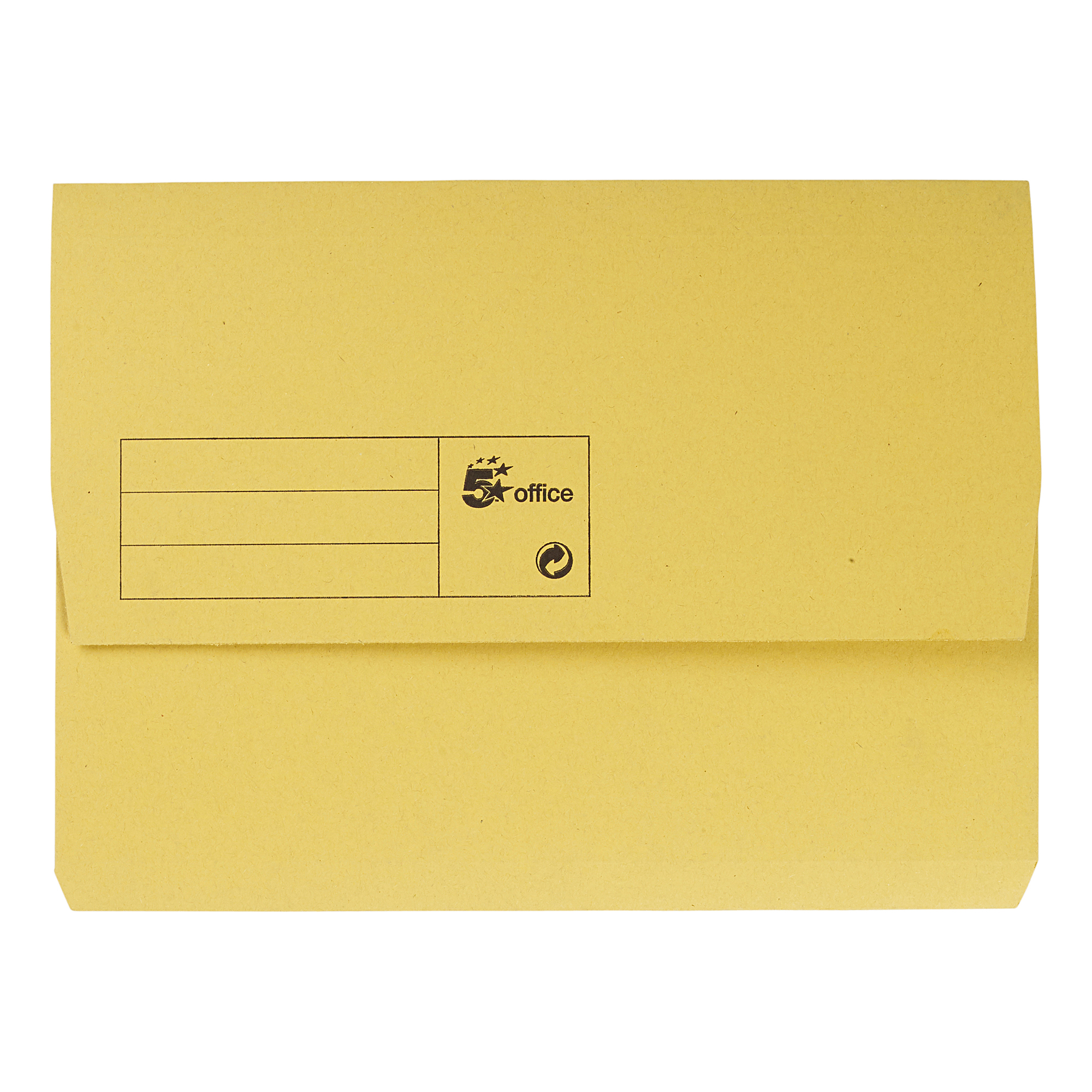 5 Star Office Document Wallet Half Flap 285gsm Recycled Capacity 32mm A4 Yellow Pack 50