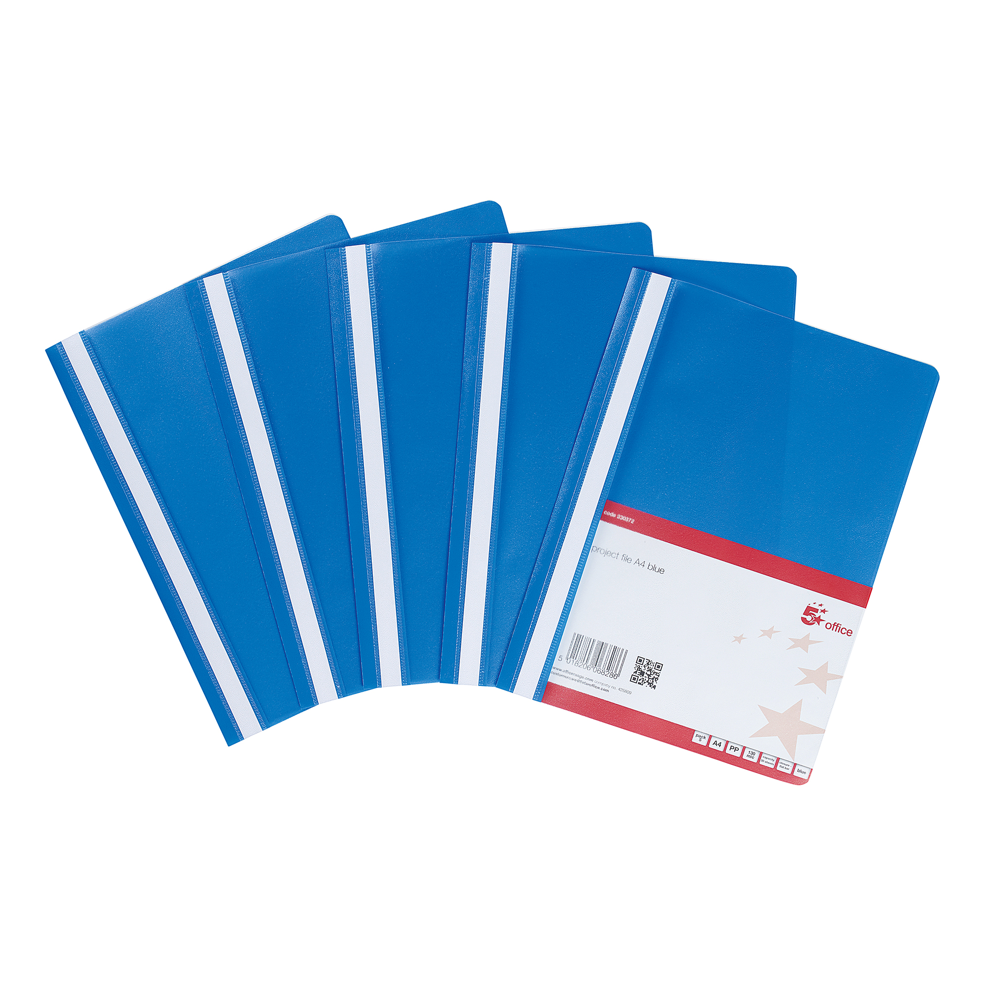 Part Files 5 Star Office Project Flat File Lightweight Polypropylene with Indexing Strip A4 Blue [Pack 5]