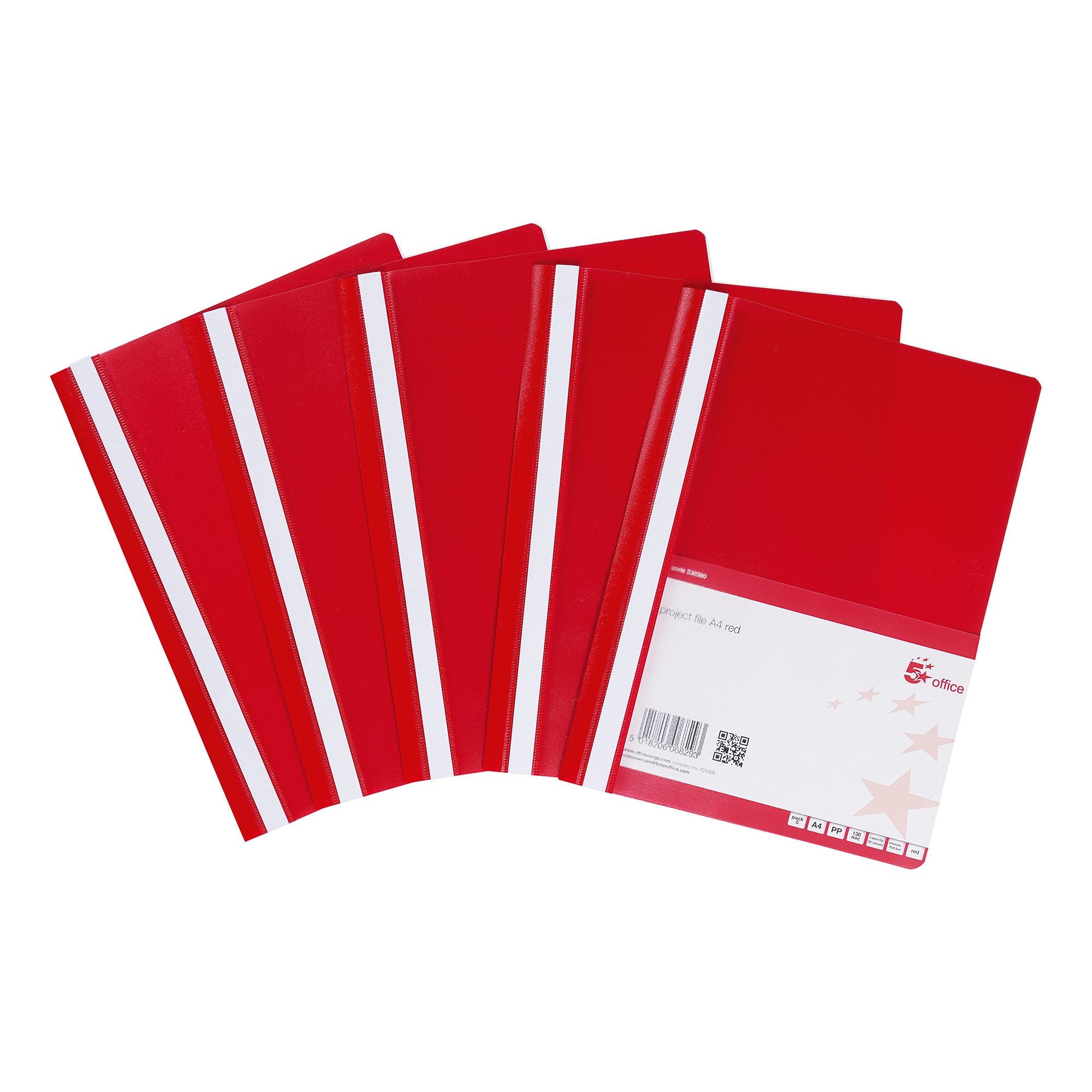 5 Star Office Project Flat File Lightweight Polypropylene with Indexing Strip A4 Red Pack 5