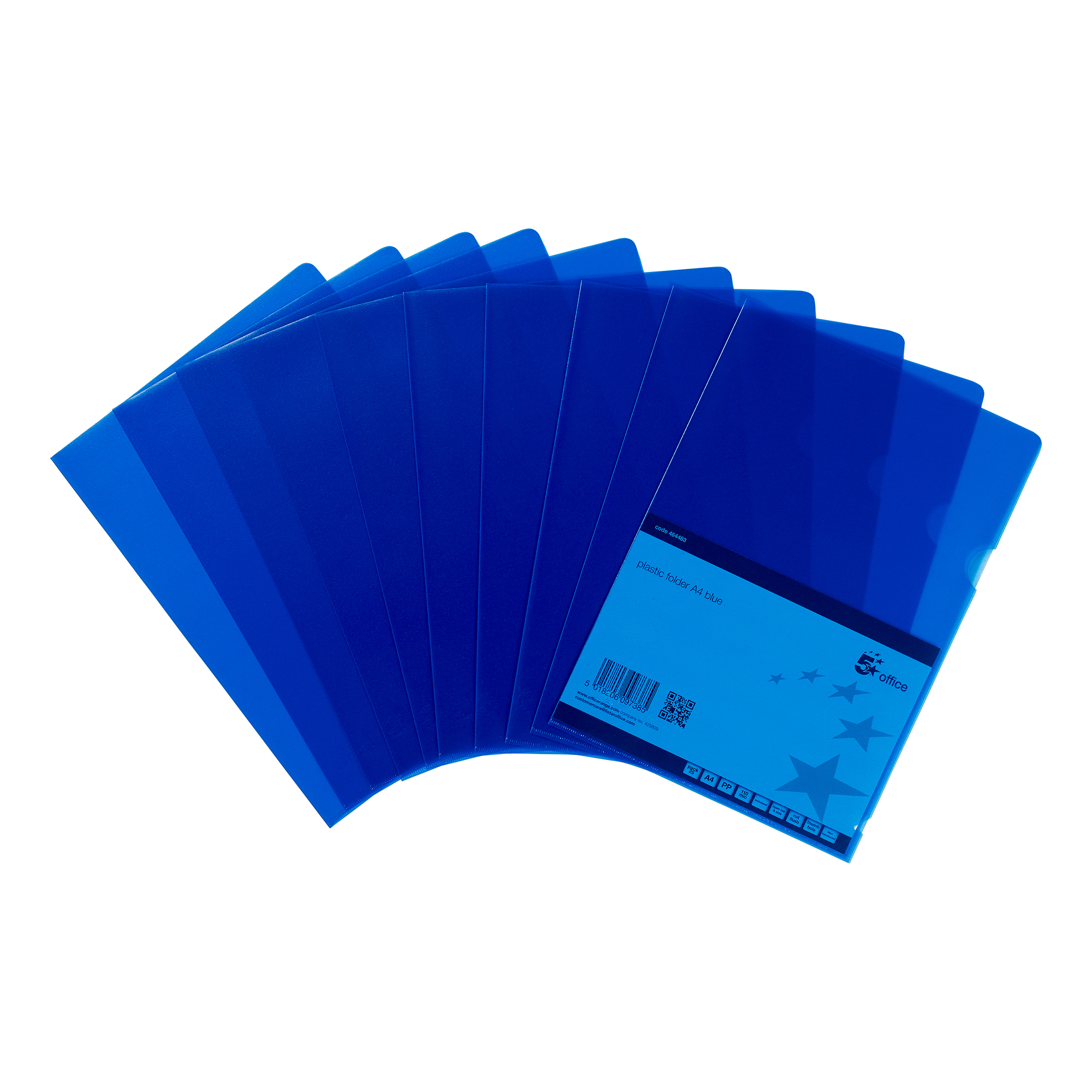 Clip Files 5 Star Office Folder Embossed Cut Flush Polypropylene Copy-safe Translucent 110 Micron A4 Blue Pack 25