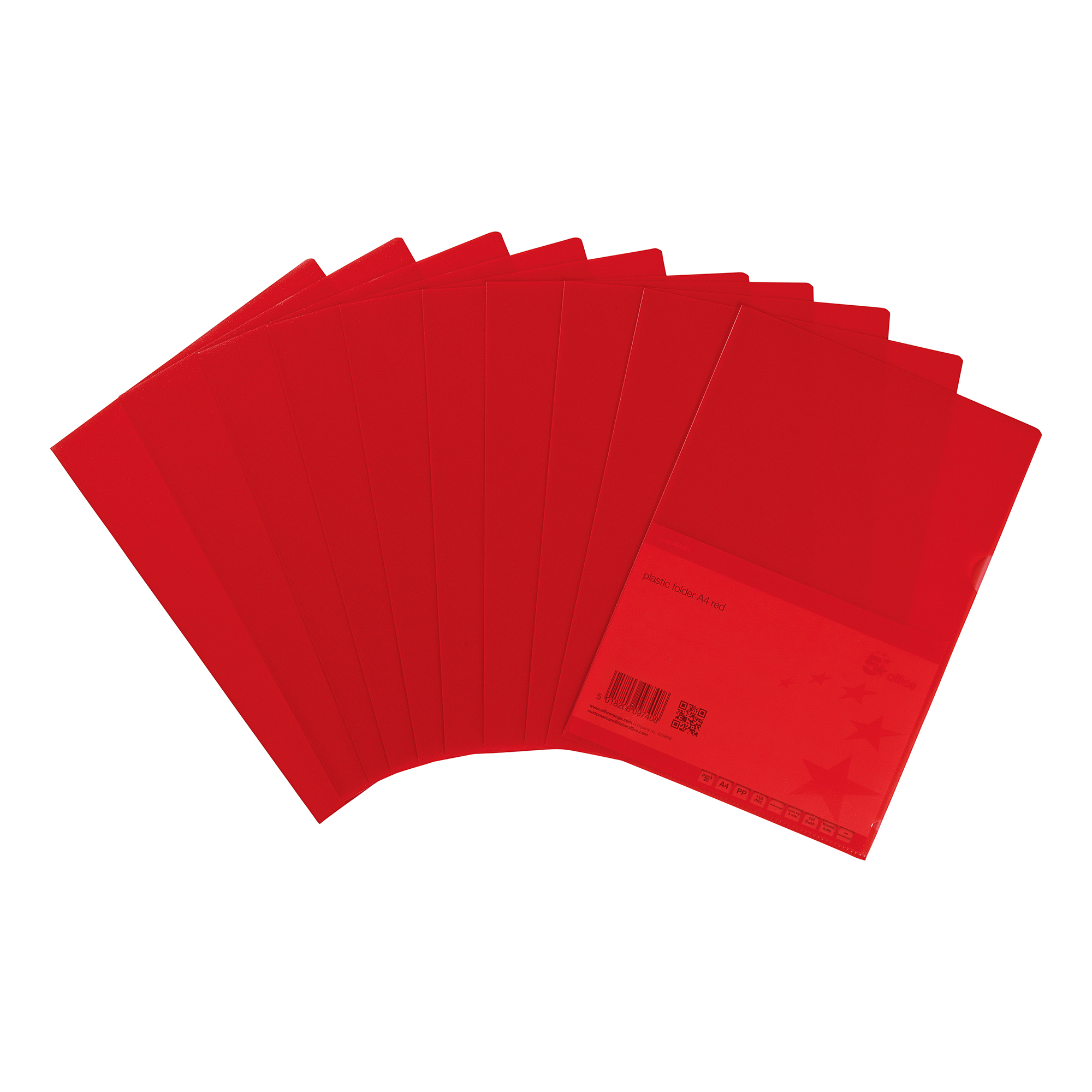 Clip Files 5 Star Office Folder Embossed Cut Flush Polypropylene Copy-safe Translucent 110 Micron A4 Red Pack 25