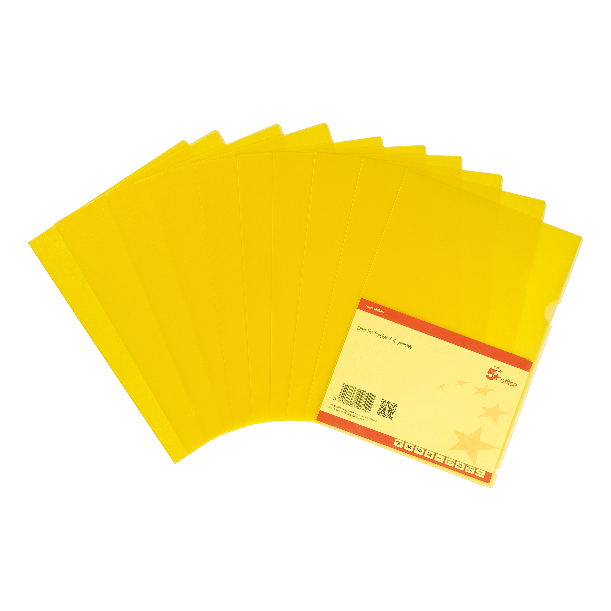 Clip Files 5 Star Office Folder Embossed Cut Flush Polypropylene Copy-safe Translucent 110 Micron A4 Yellow Pack25