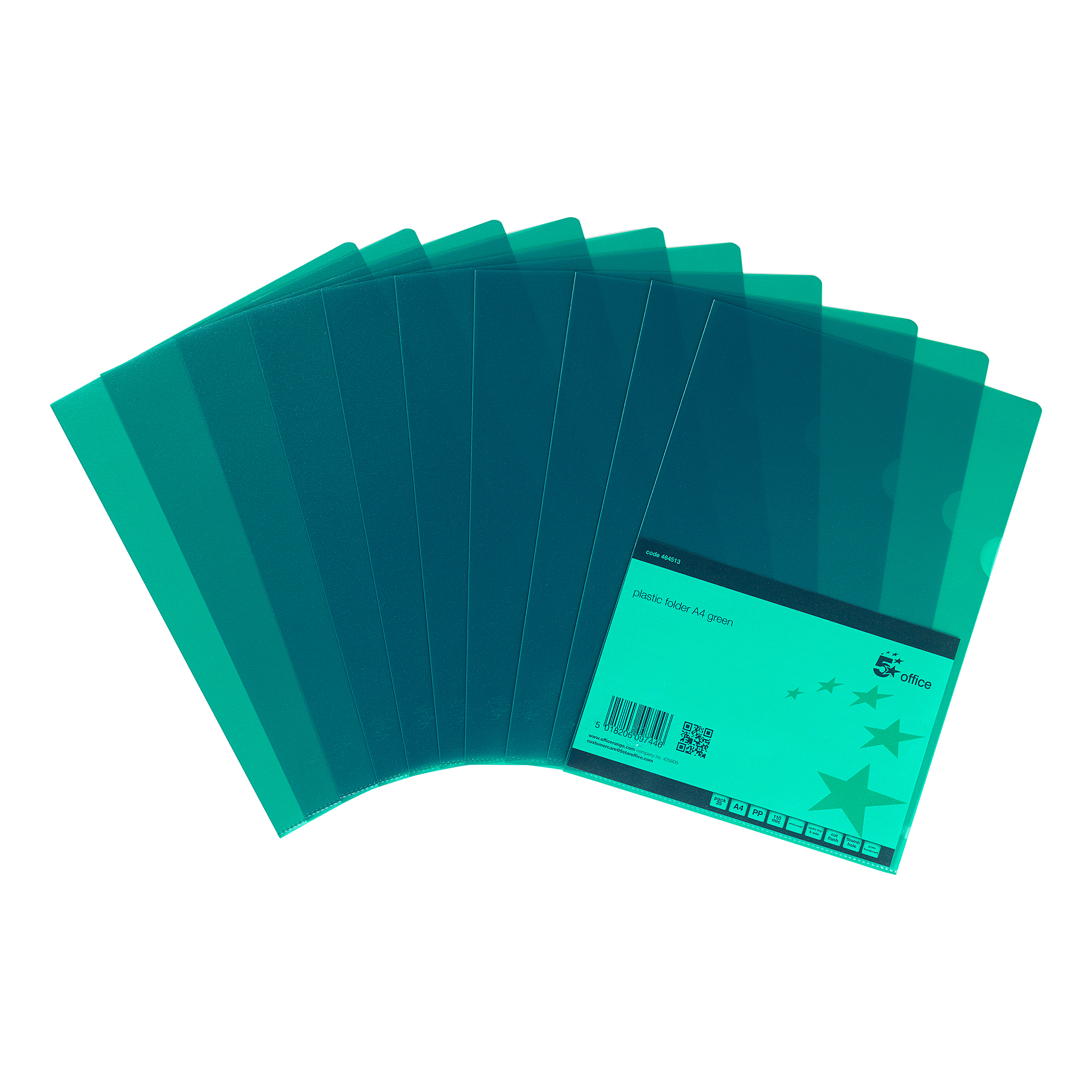 Clip Files 5 Star Office Folder Embossed Cut Flush Polypropylene Copy-safe Translucent 110 Micron A4 Green Pack 25