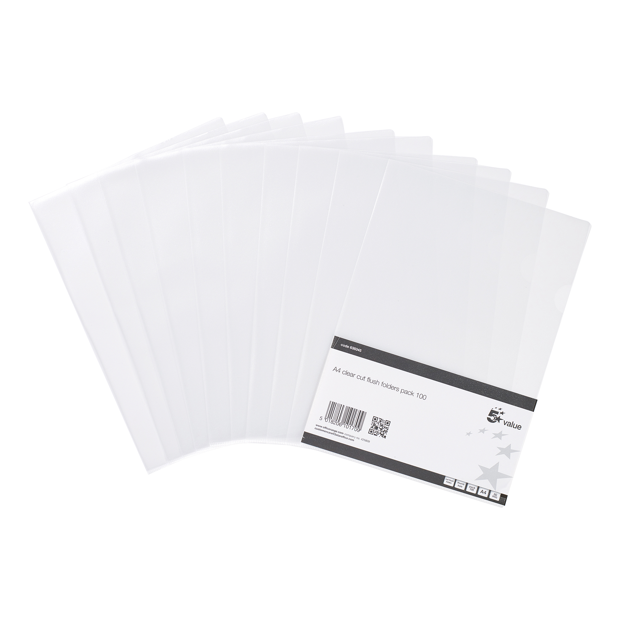 Clip Files 5 Star Value Folder Embossed Cut Flush Polypropylene 80 Micron A4 Clear Pack 100