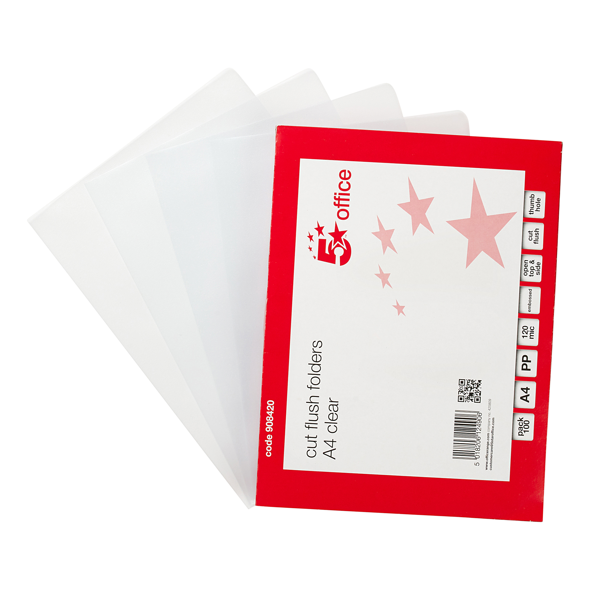5 Star Office Folder Cut Flush Embossed Polypropylene Copy-safe 120 Micron A4 Clear [Pack 100]
