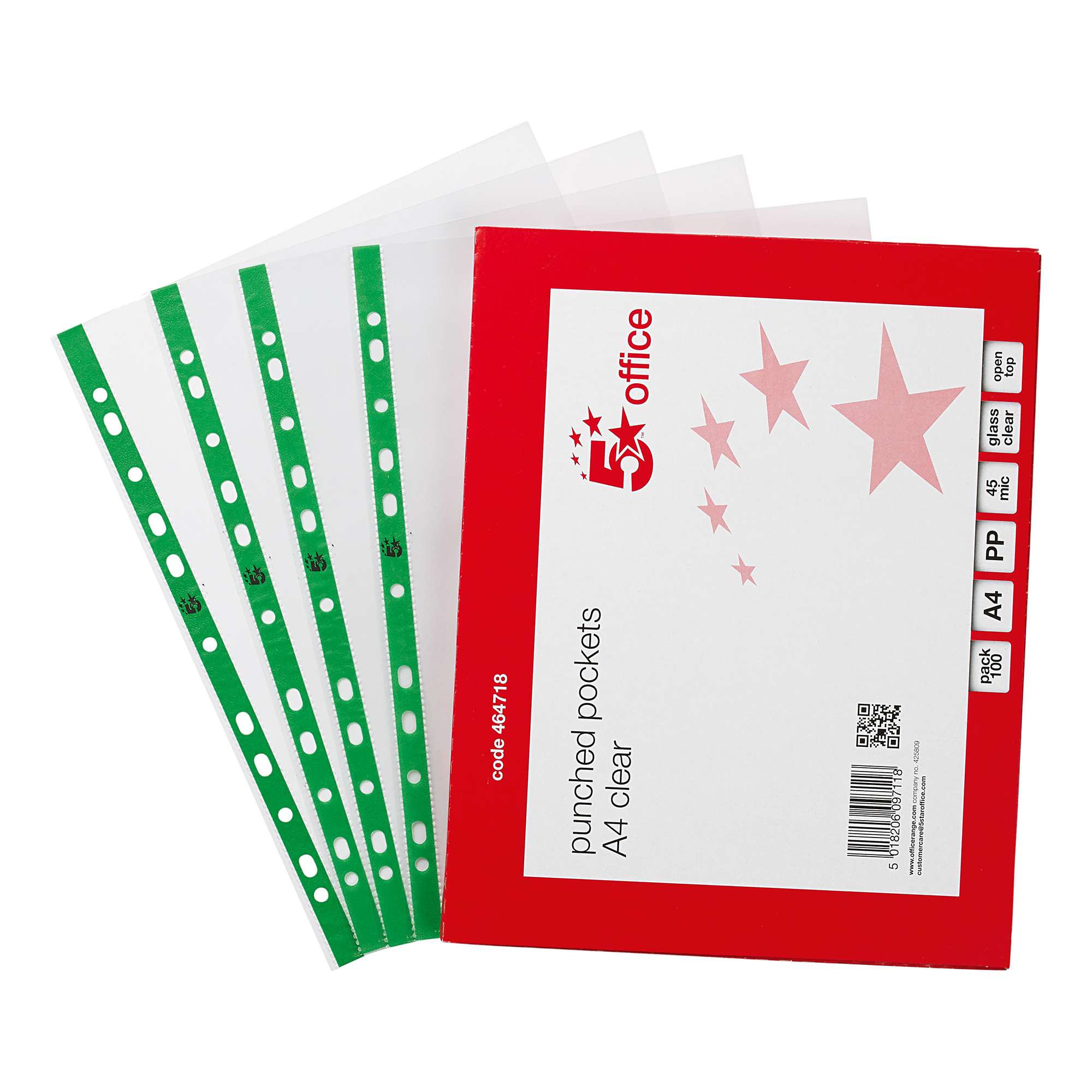 Plastic Pockets 5 Star Office Punched Pocket Polypropylene Green Strip Top-opening 45 Micron A4 Glass Clear Pack 100