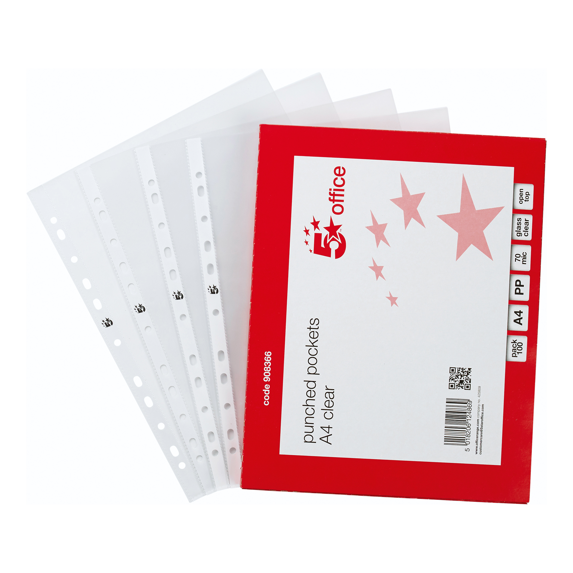 Plastic Pockets 5 Star Office Punched Pocket Polypropylene Top-opening 70 Micron A4 Glass Clear Pack 100