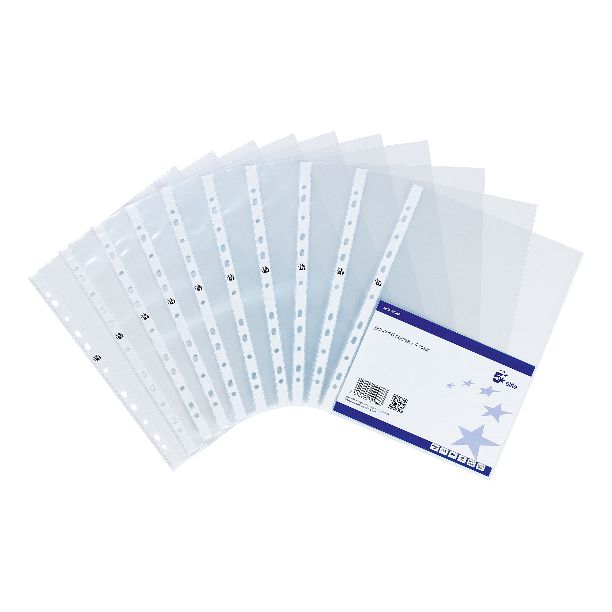 Plastic Pockets 5 Star Elite Presentation Punched Pocket Polypropylene Top-opening 90 Micron A4 Glass Clear Pack 10