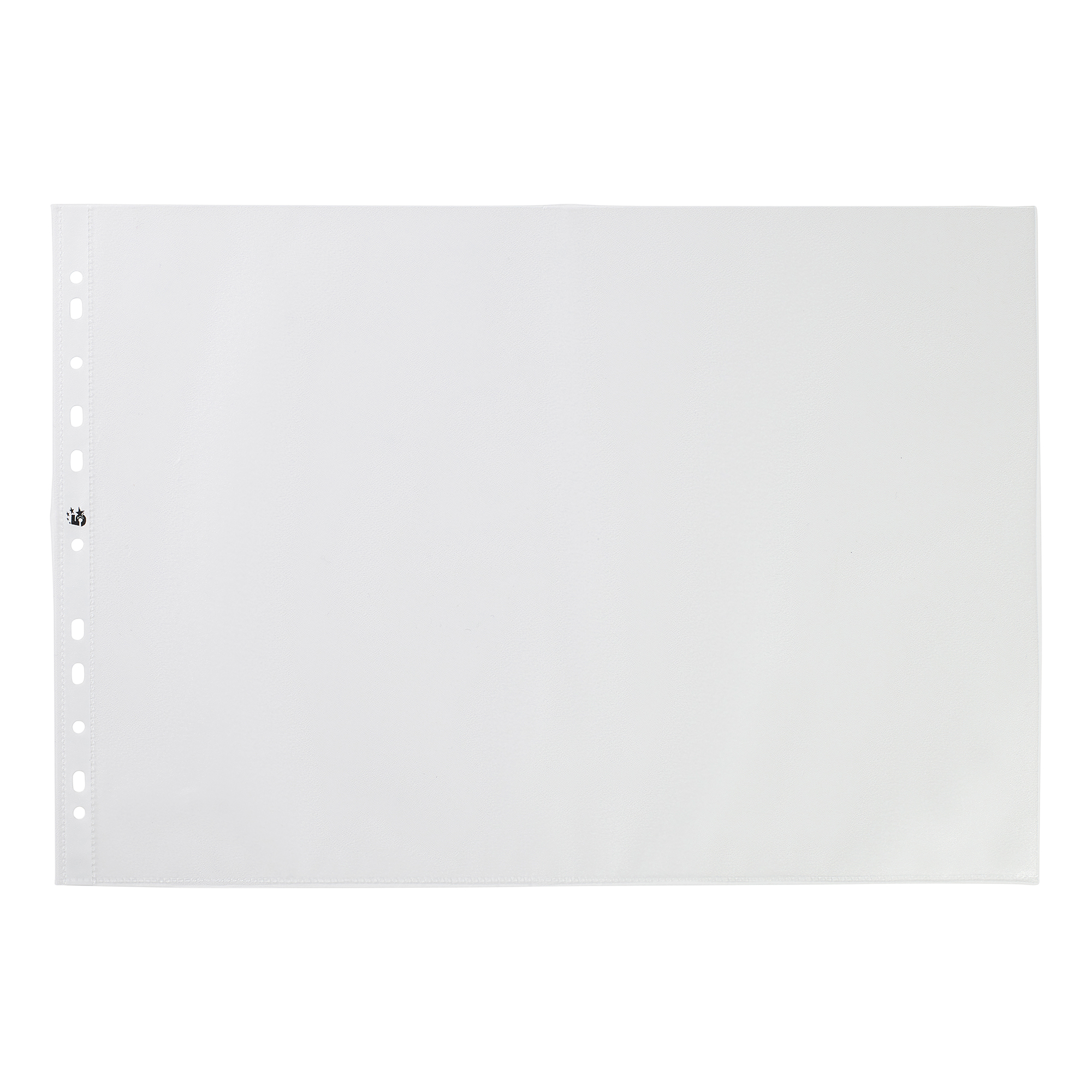 5 Star Office Punched Pocket Embossed Polypropylene Top-opening Landscape 90 Micron A3 Clear [Pack 25]