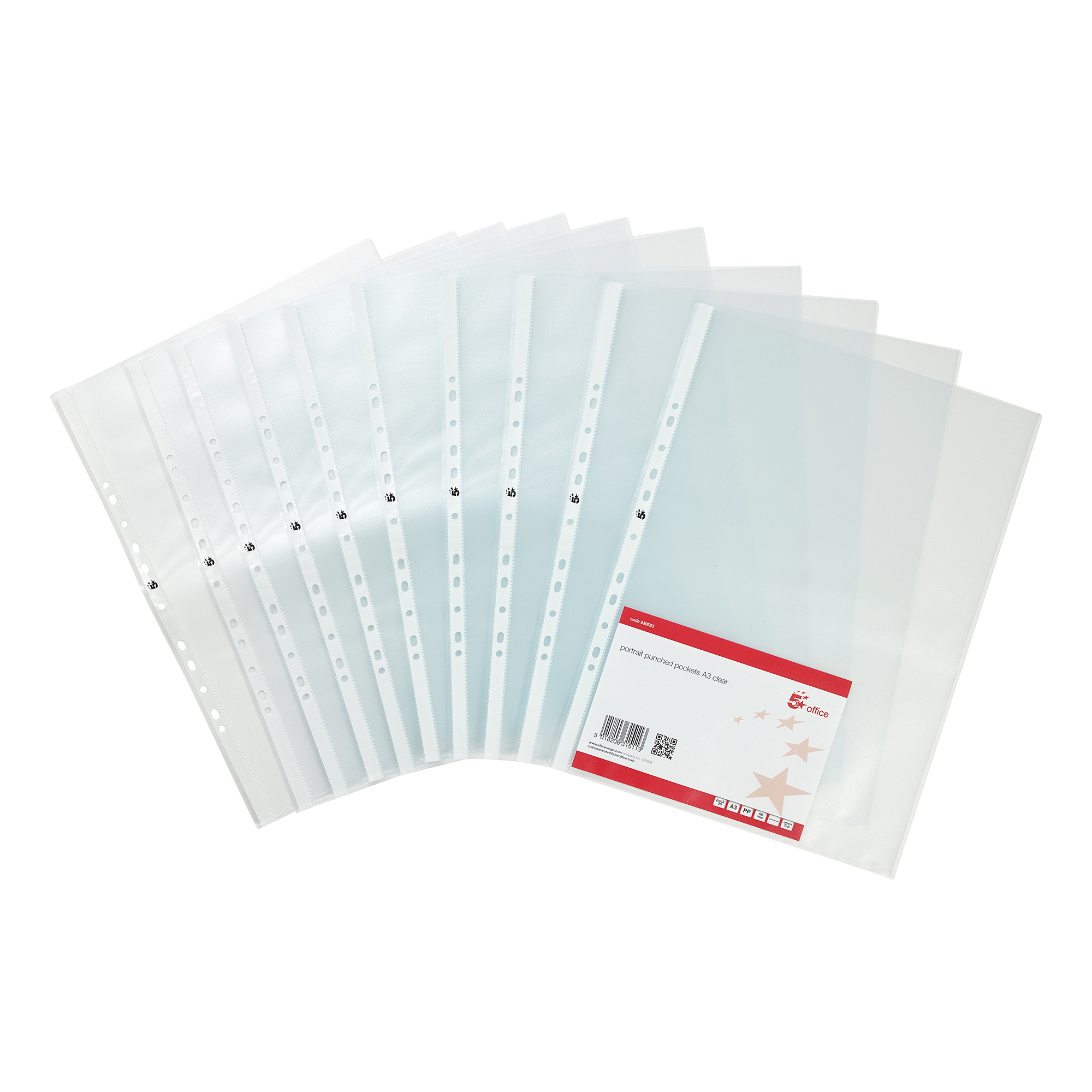 Plastic Pockets 5 Star Office Punched Pocket Embossed Polypropylene Top-opening Portrait 90 Micron A3 Clear Pack 25