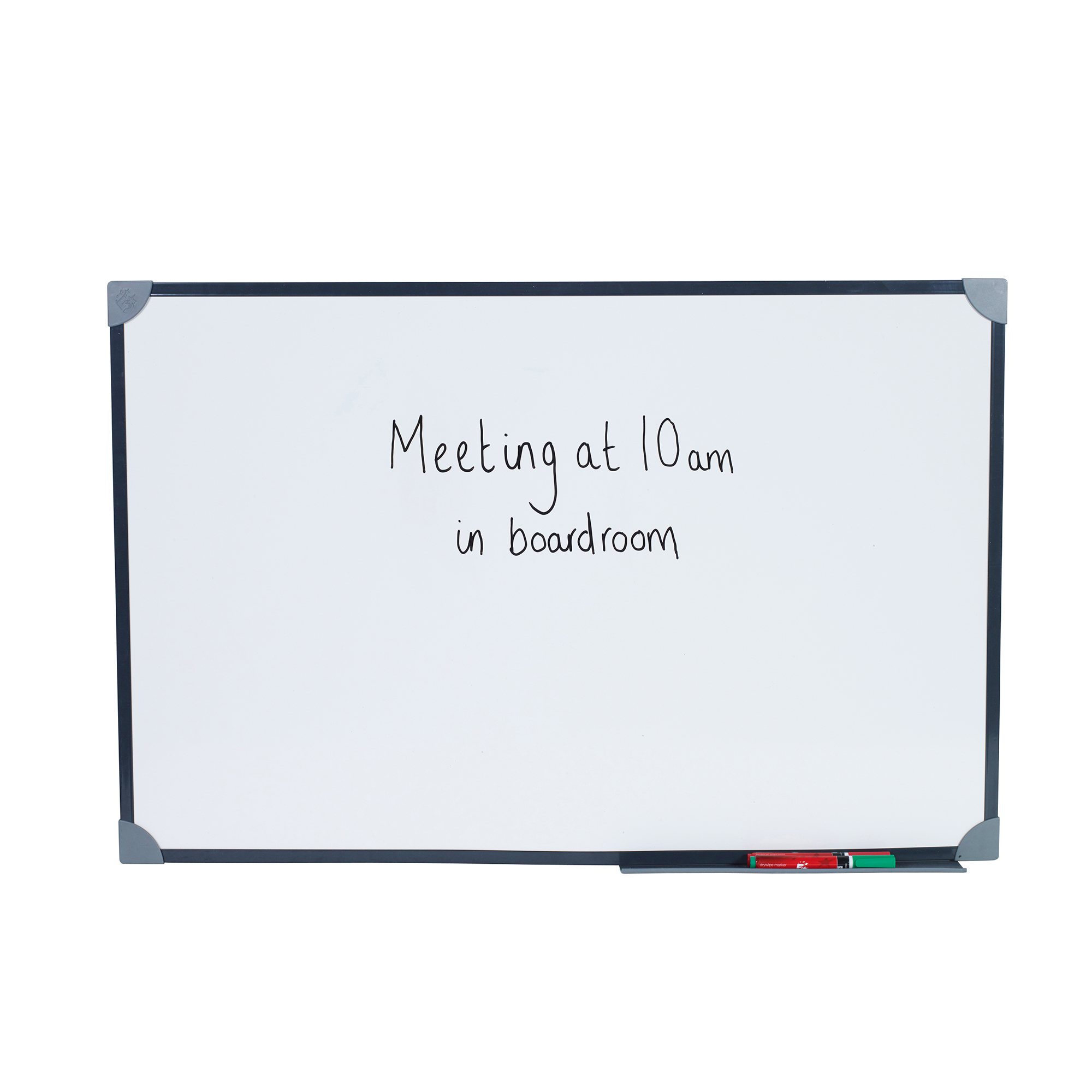 5 Star Office Magnetic Drywipe Board Steel Trim with Fixing Kit and Detachable Pen Tray W900xH600mm
