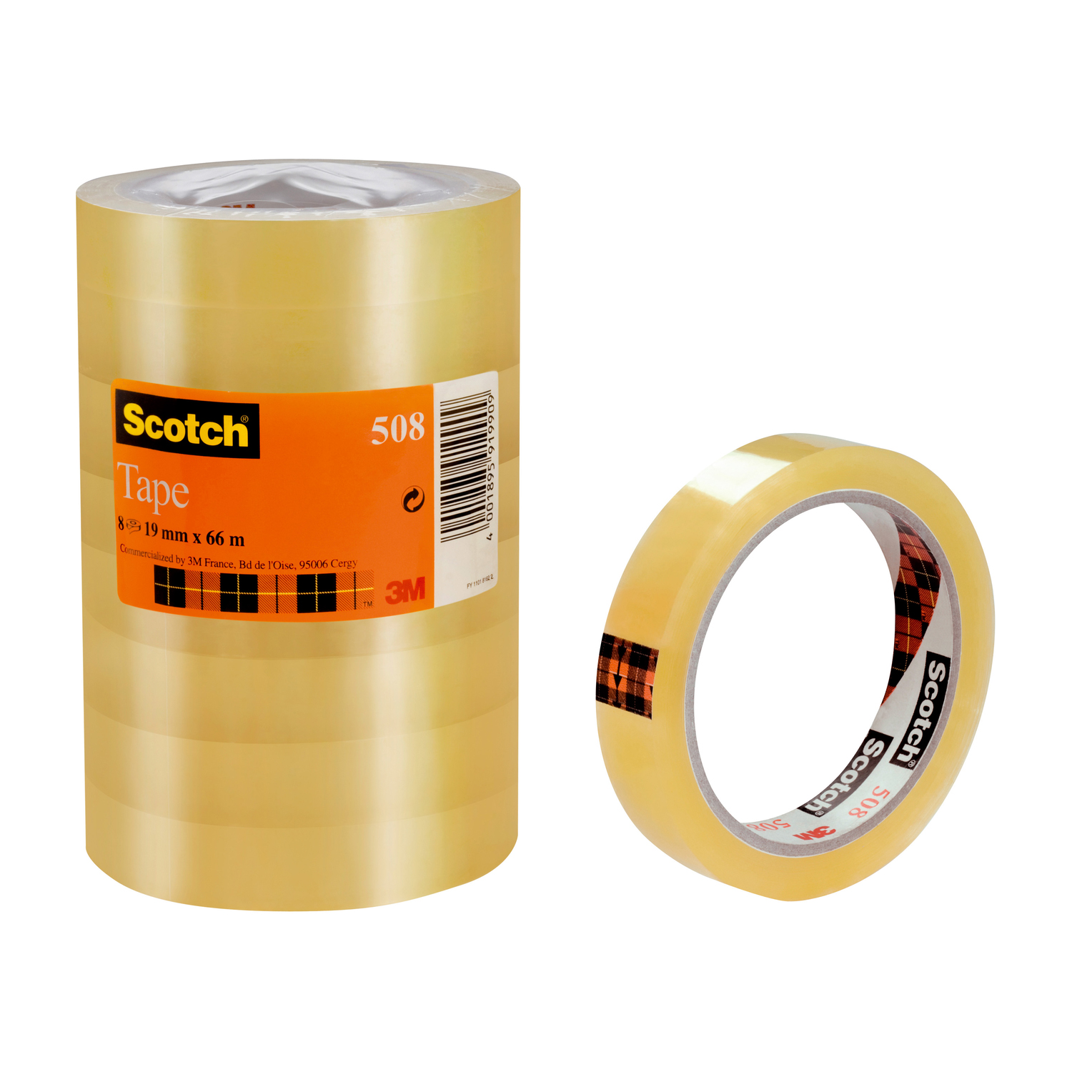 Transparent tape Scotch 508 Clear Tape 19mmx66m Clear Ref 7000080794 Pack 8